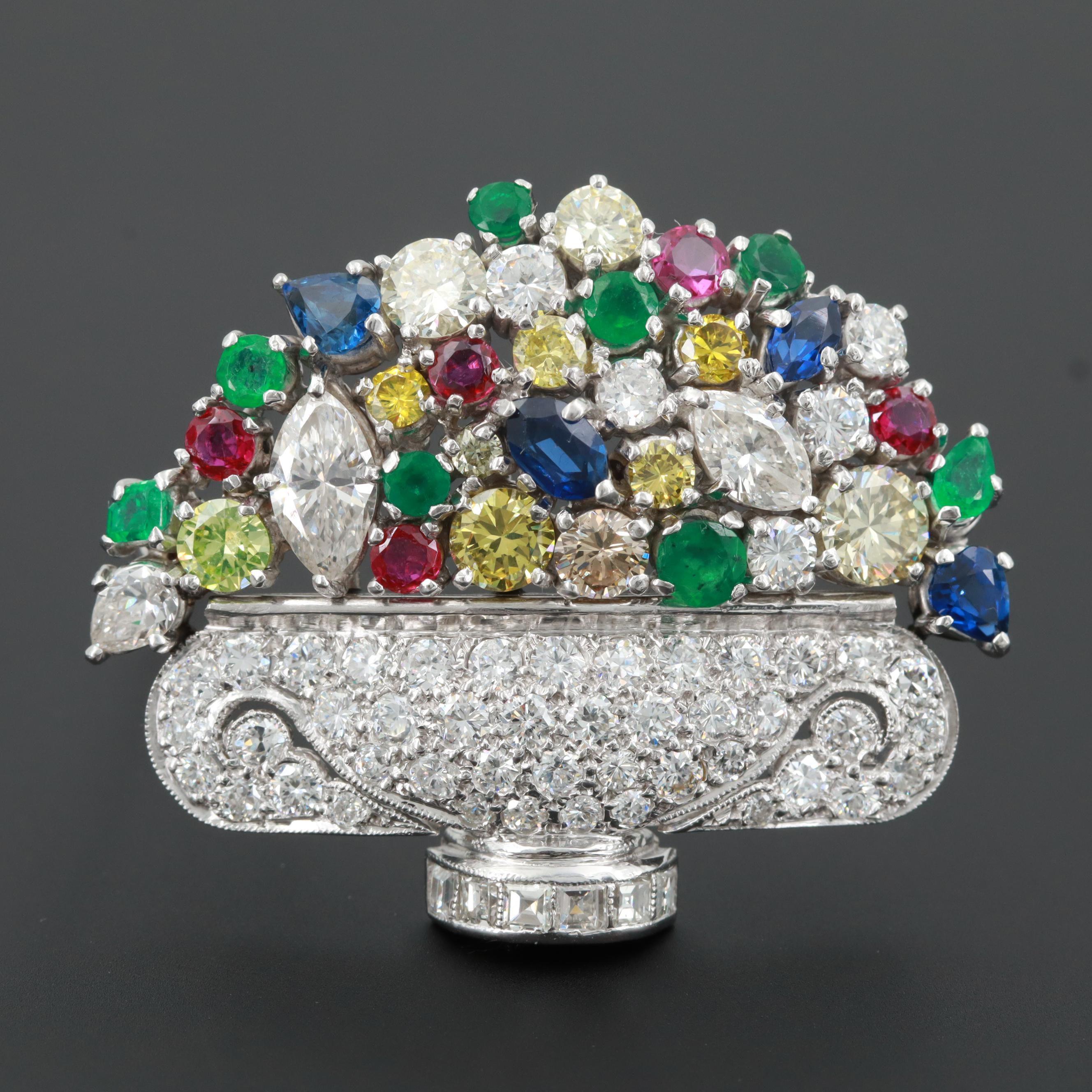 Platinum 5.50 CTW Diamond, Emerald, Ruby, and Blue Sapphire Giardinetto Brooch