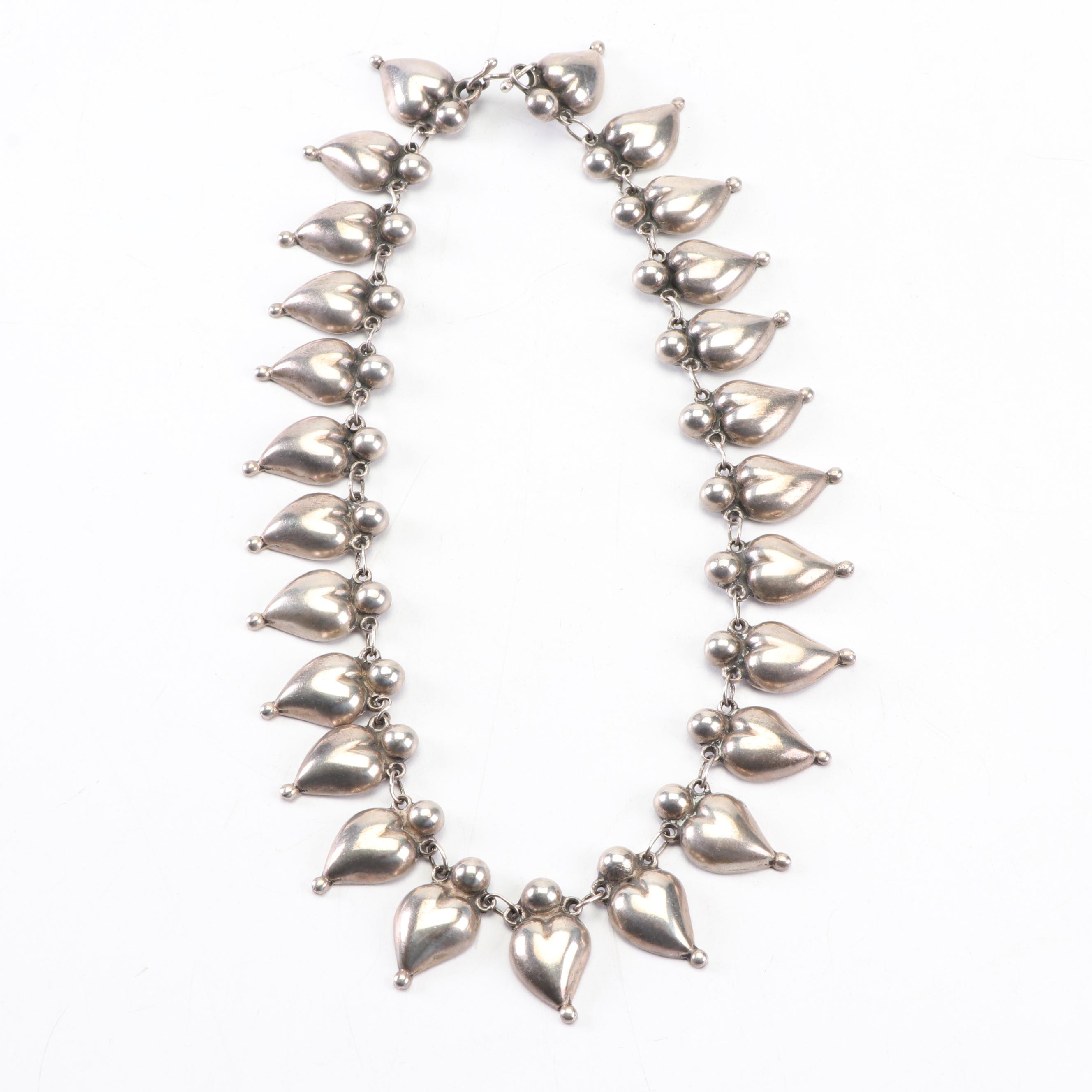 Mexican Sterling Silver Bleeding Heart Necklace