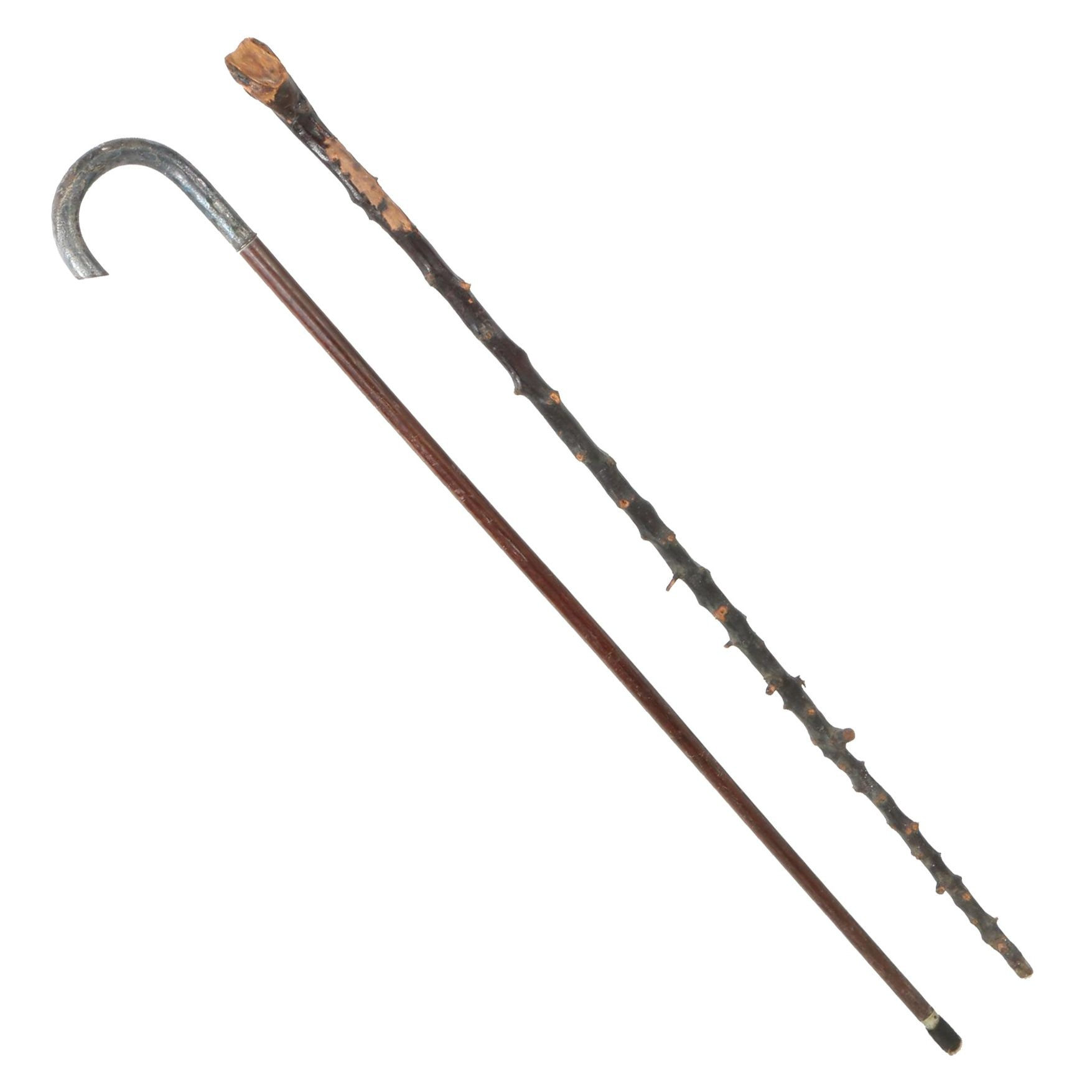Hand Hammered Sterling Handled Cane and other Wooden Walking Stick