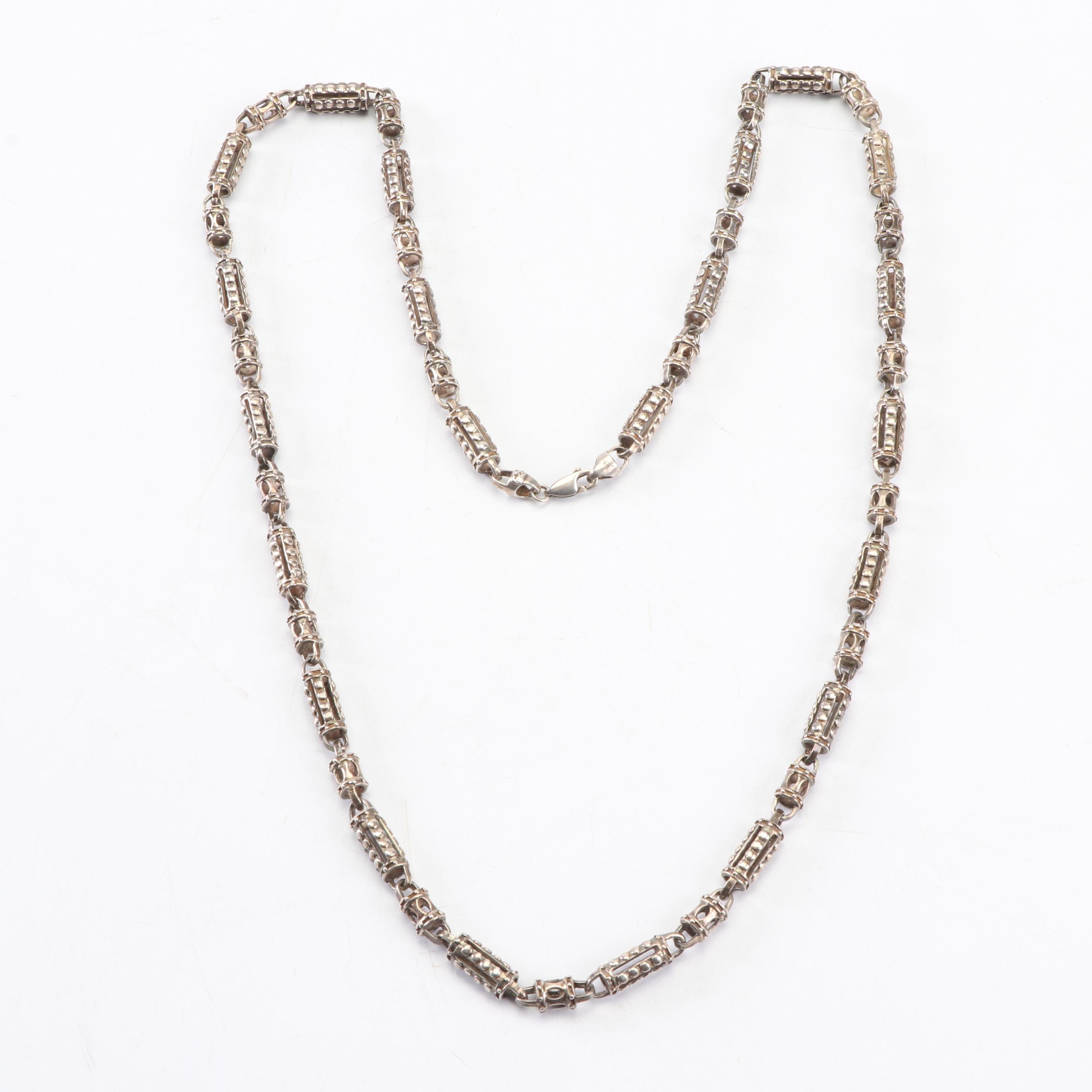 Sterling Silver Hand-Cast Beaded Link Necklace with Lobster Claw Clasp