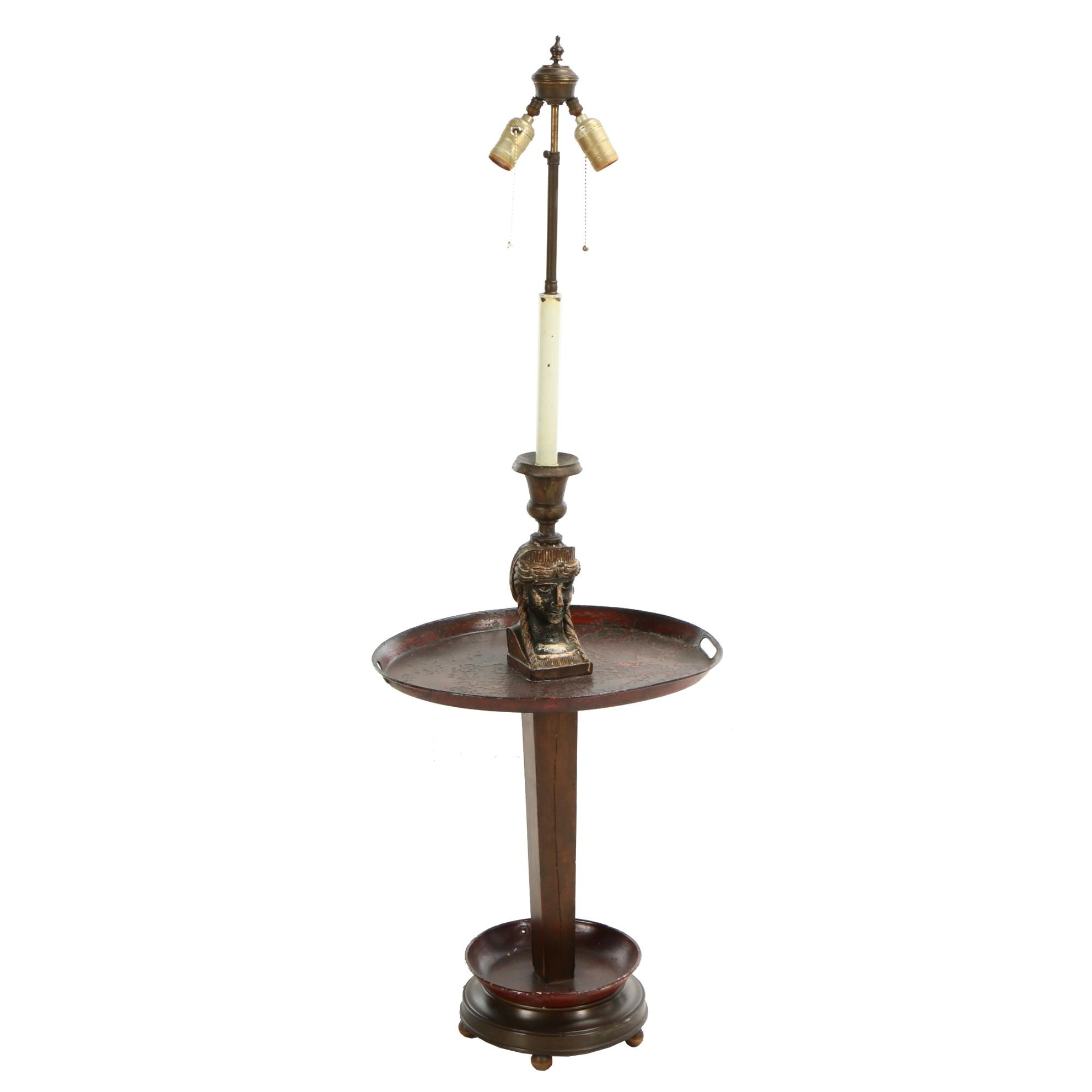 Empire Style Pedestal Floor Lamp with Tole Peinte Tray Table, 20th Century