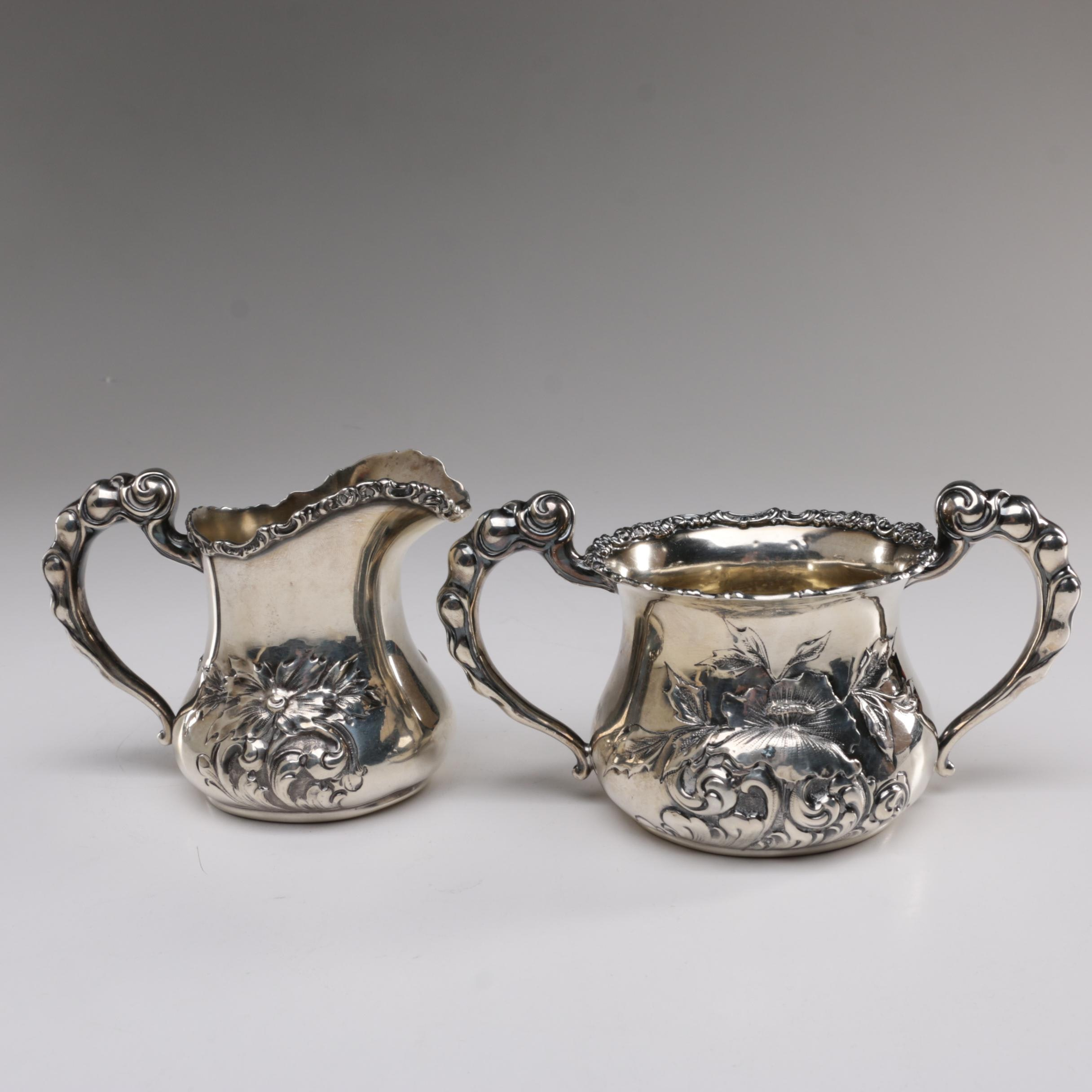 International Silver Co. Sterling Creamer and Open Sugar Bowl, Early 20th C.