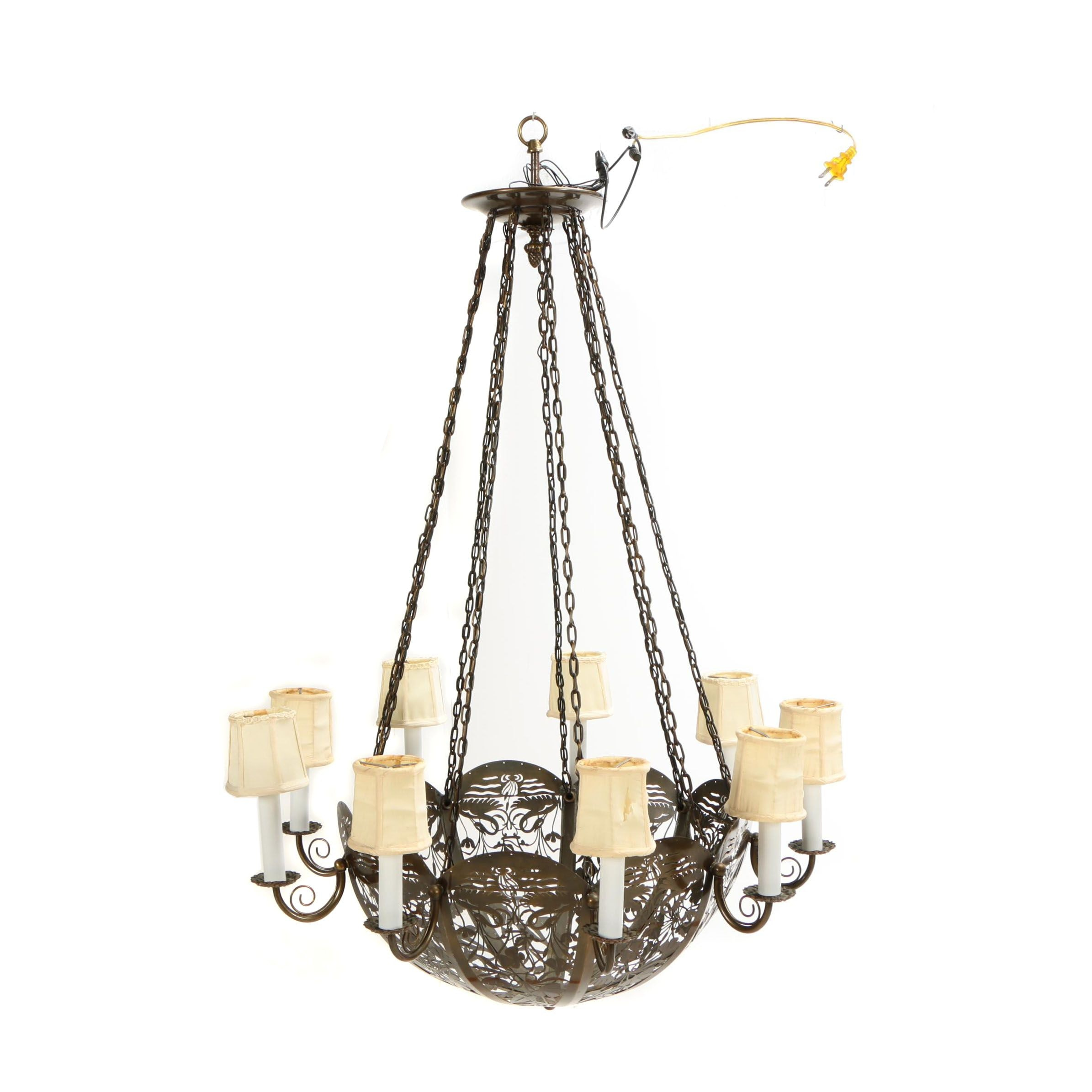 Floral Pierced Brass Chandelier
