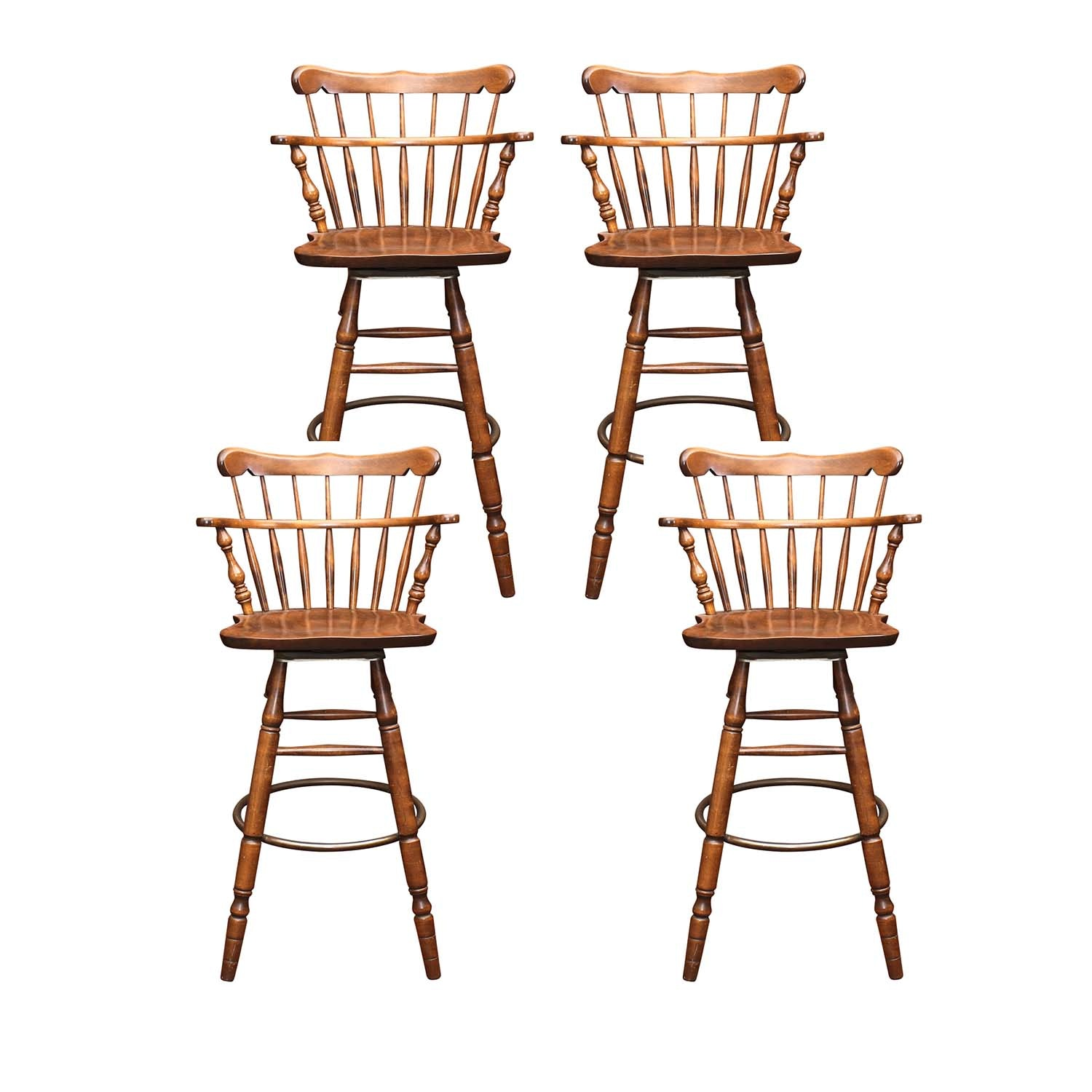 S. Bent & Bros. Walnut Swivel Bar Stools, Vintage