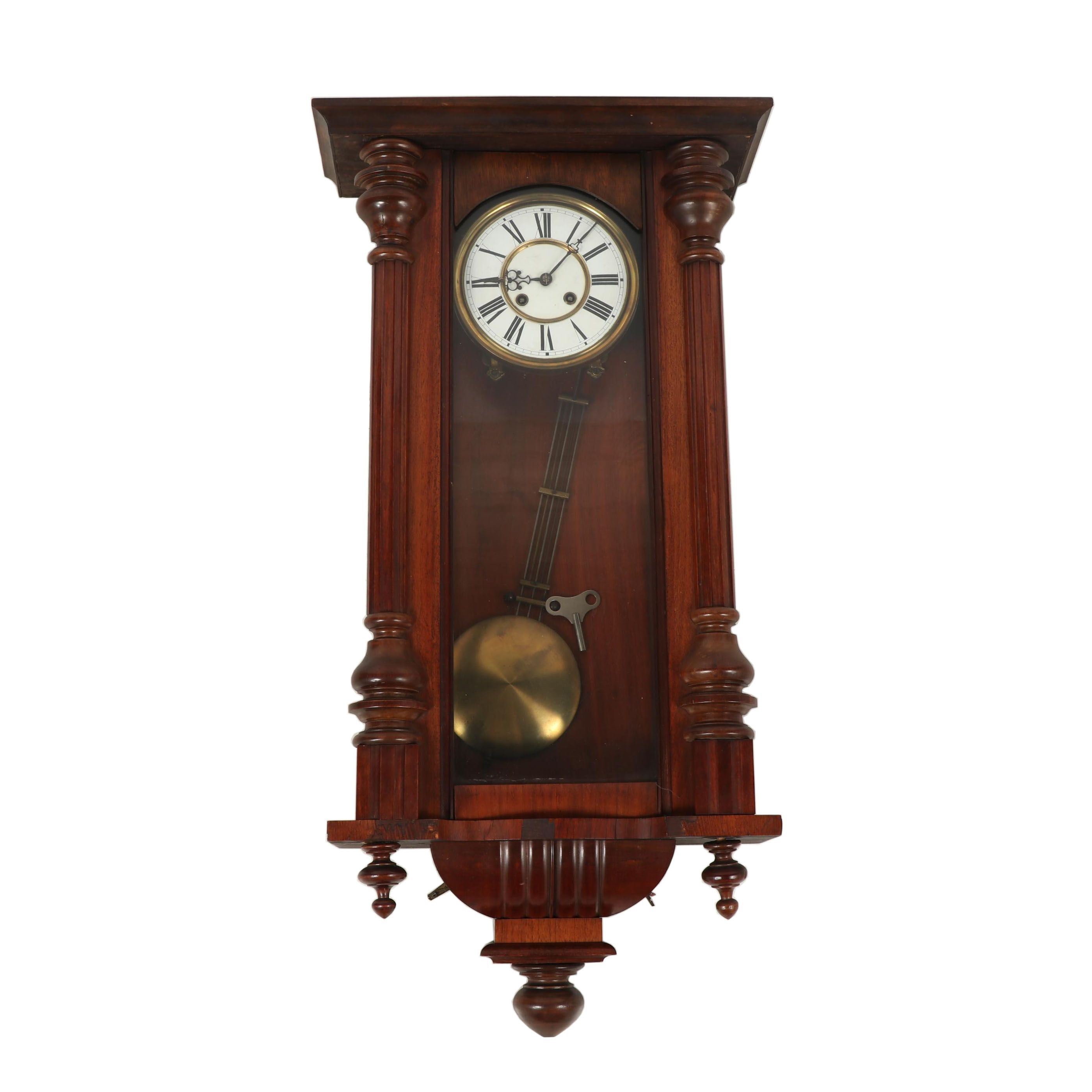 Vienna Style Regulator Wood Wall Clock, Early 20th Century