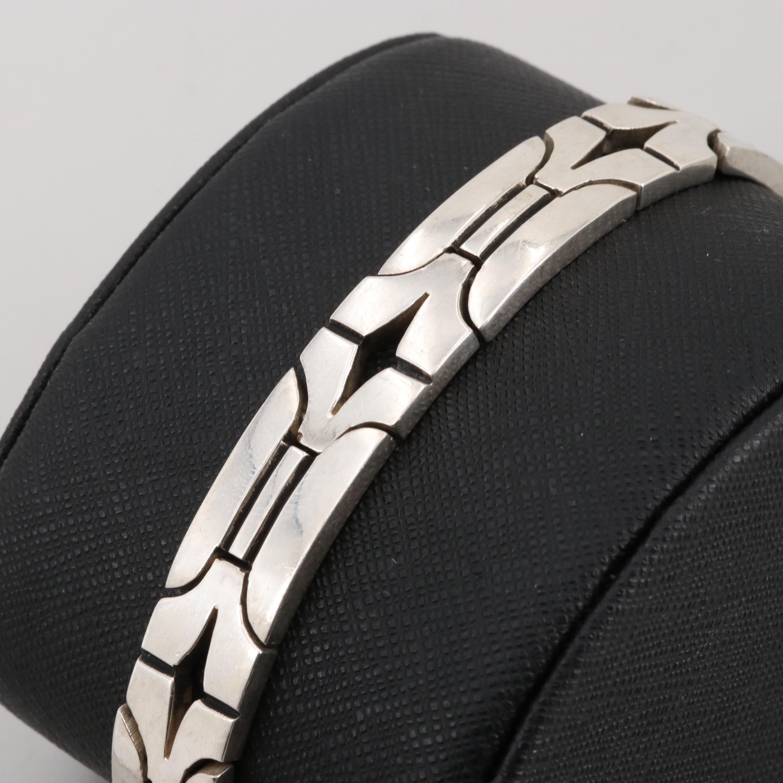 Vintage Taxco Mexico Sterling Silver Link Bracelet