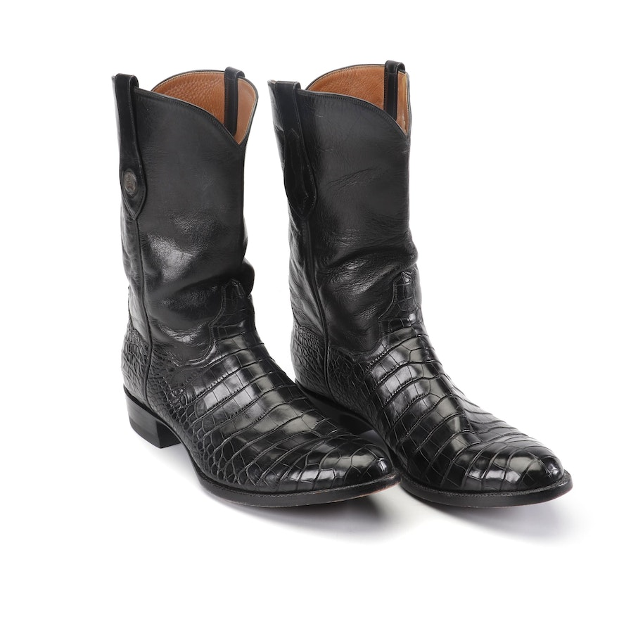 b952df22fd6 J.B. Hill of Texas Custom Handmade Black Leather and Alligator Cowboy Boots