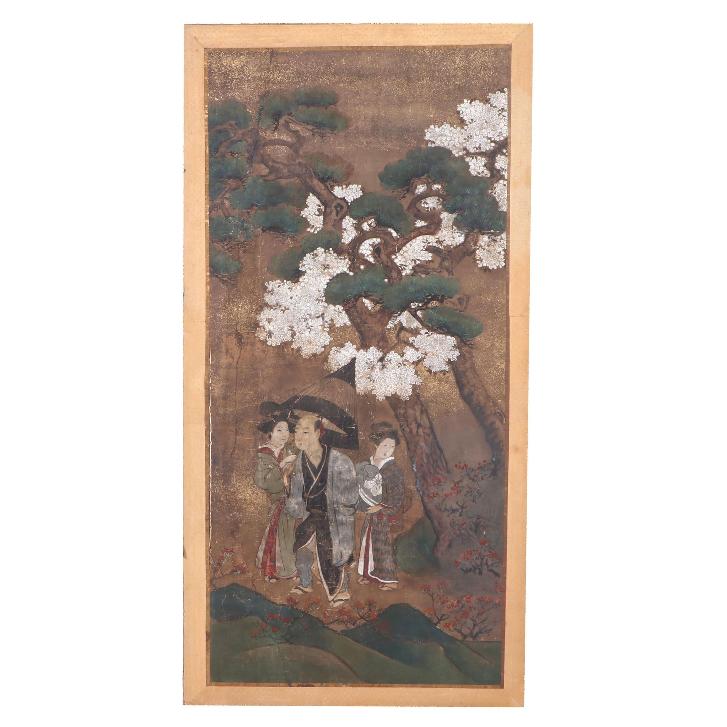 Japanese Gouache Painting of Figures Among Sakura and Pines
