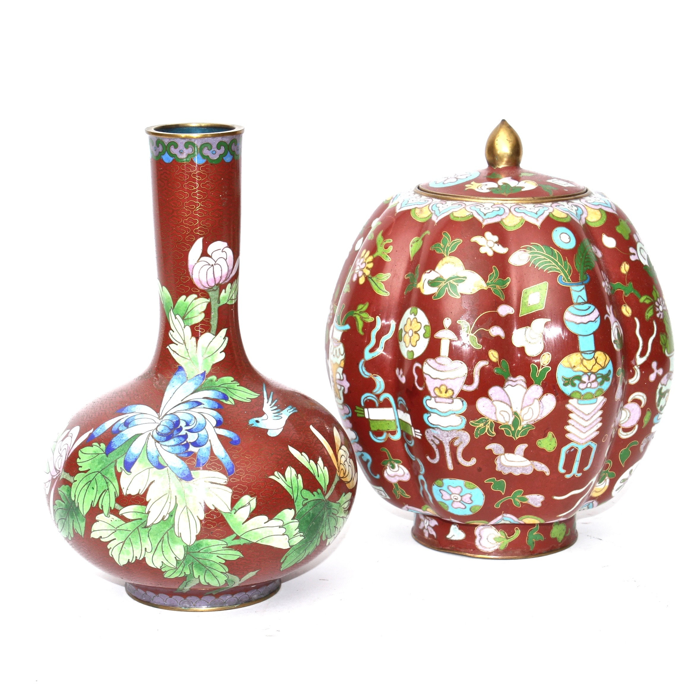 Chinese Cloisonné Vase and Urn