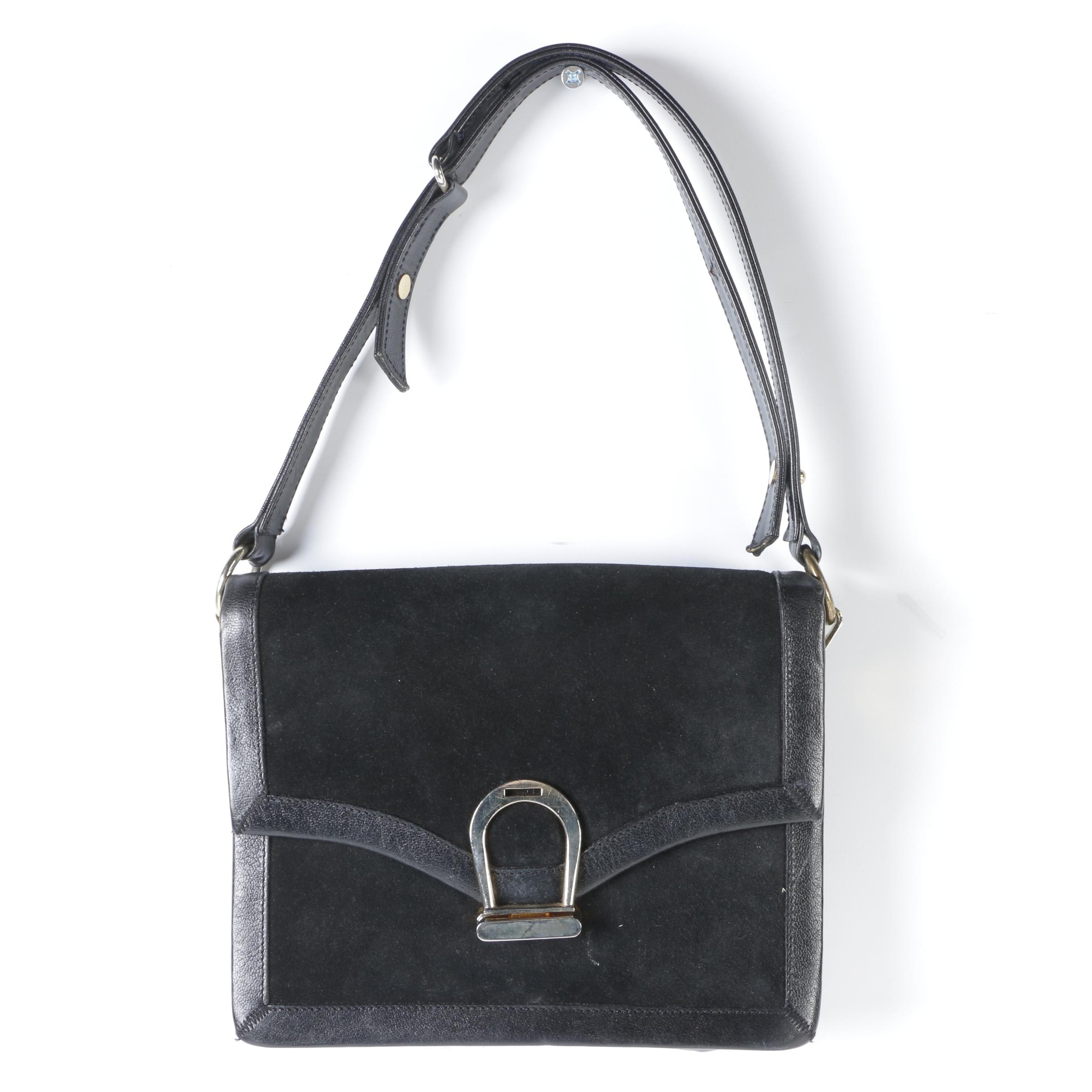 Saks Fifth Avenue Black Suede and Leather Shoulder Bag, Mid-20th Century