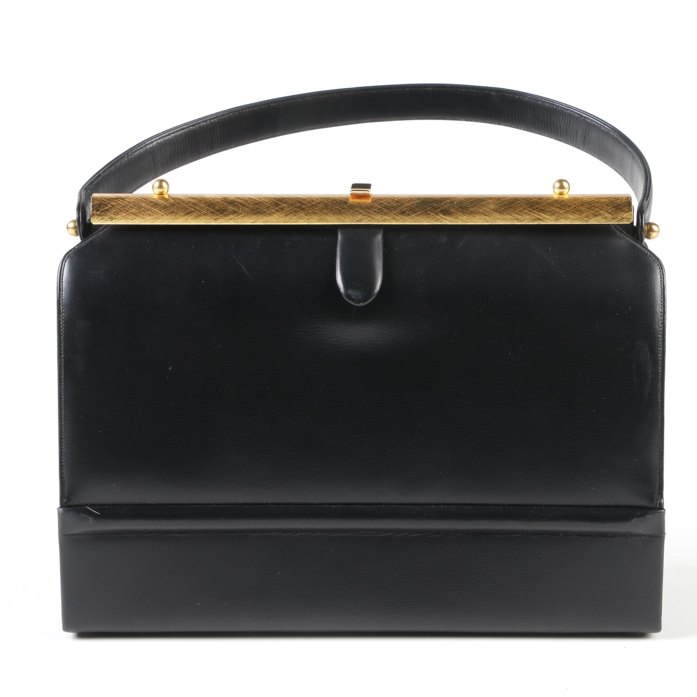 Prestige Black and Red Leather Handbag with Gold Tone Bar Closure, 1960s Vintage