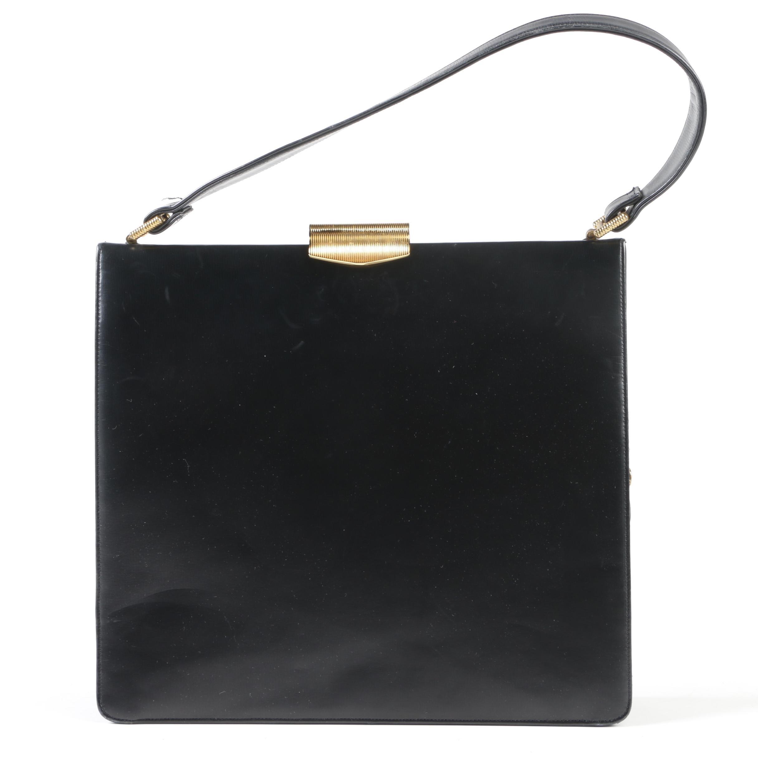 Koret Black Calfskin Leather Handbag with Ribbed Gold Tone Clasp, Circa 1960