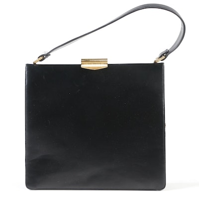 b2afacc06fc3 Koret Black Calfskin Leather Handbag with Ribbed Gold Tone Clasp