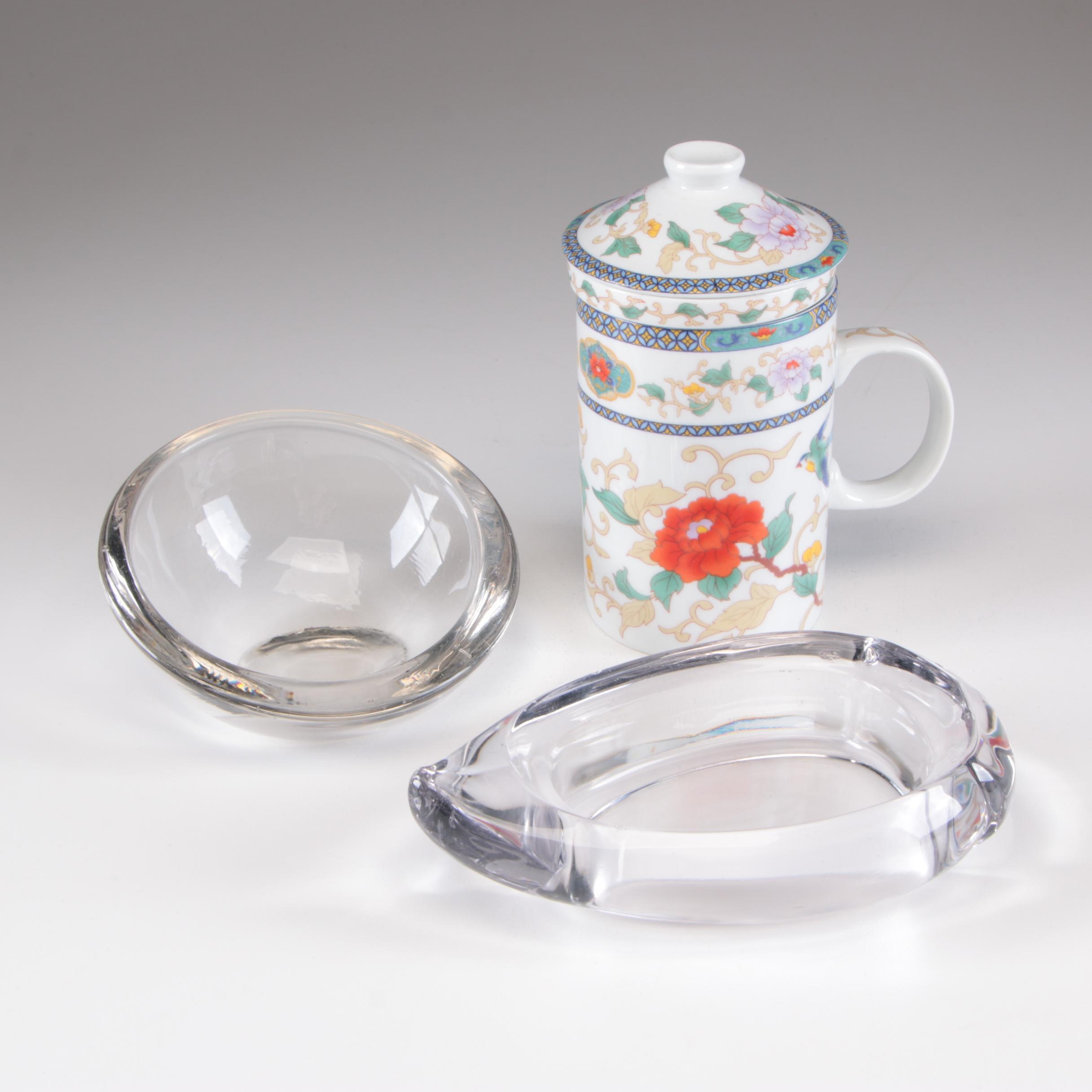 Porcelain Teacup with Infuser and Glass Serveware