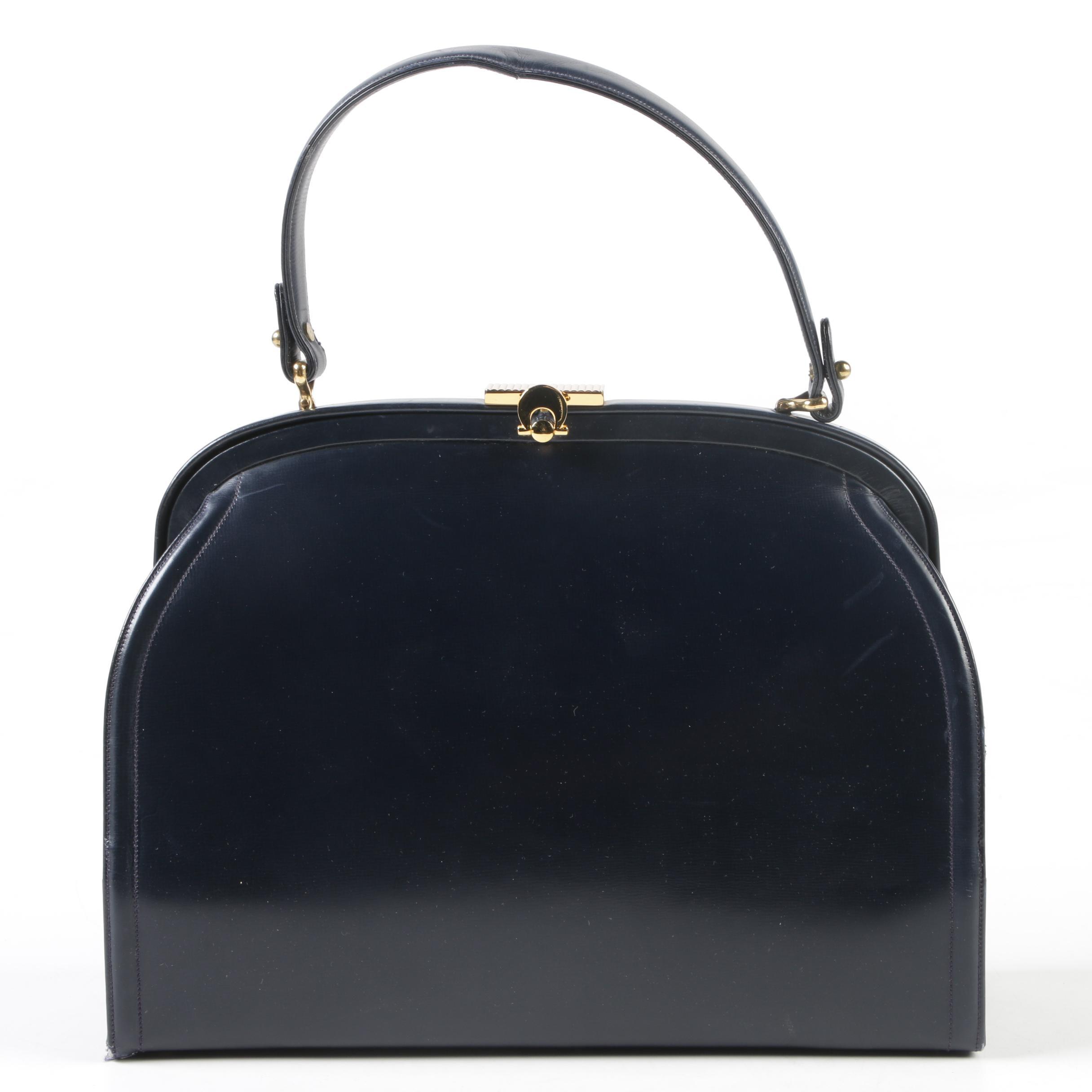 Prestige Midnight Blue Leather Dome Bag with Gold Tone Hardware, Circa 1960