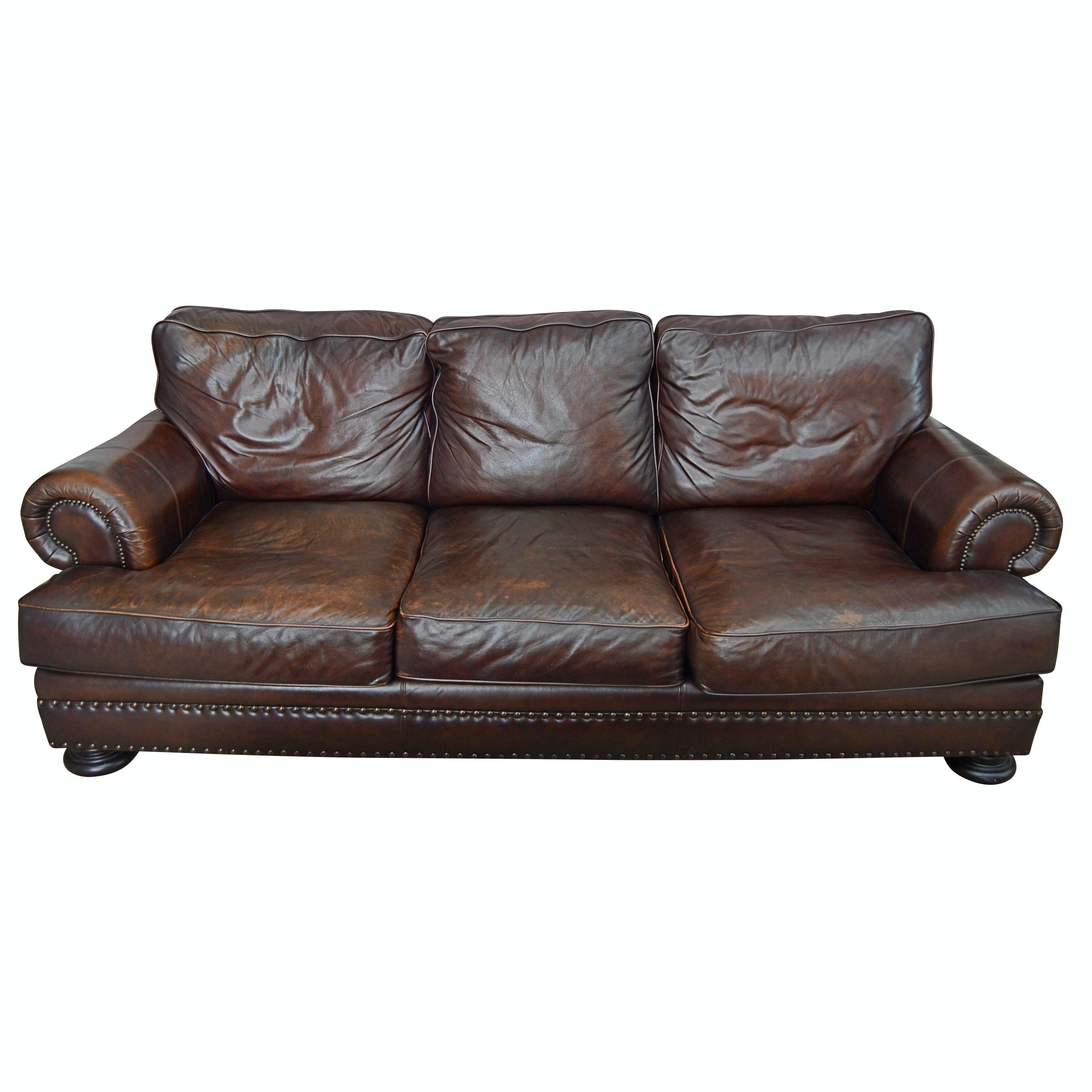 Contemporary Bernhardt Brown Leather Sofa