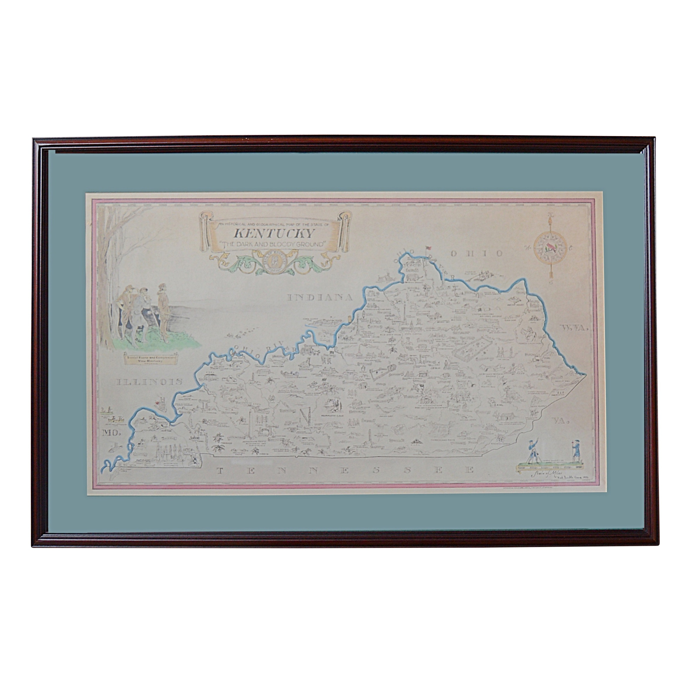 Offset Lithograph Map of Kentucky after Karl Smith