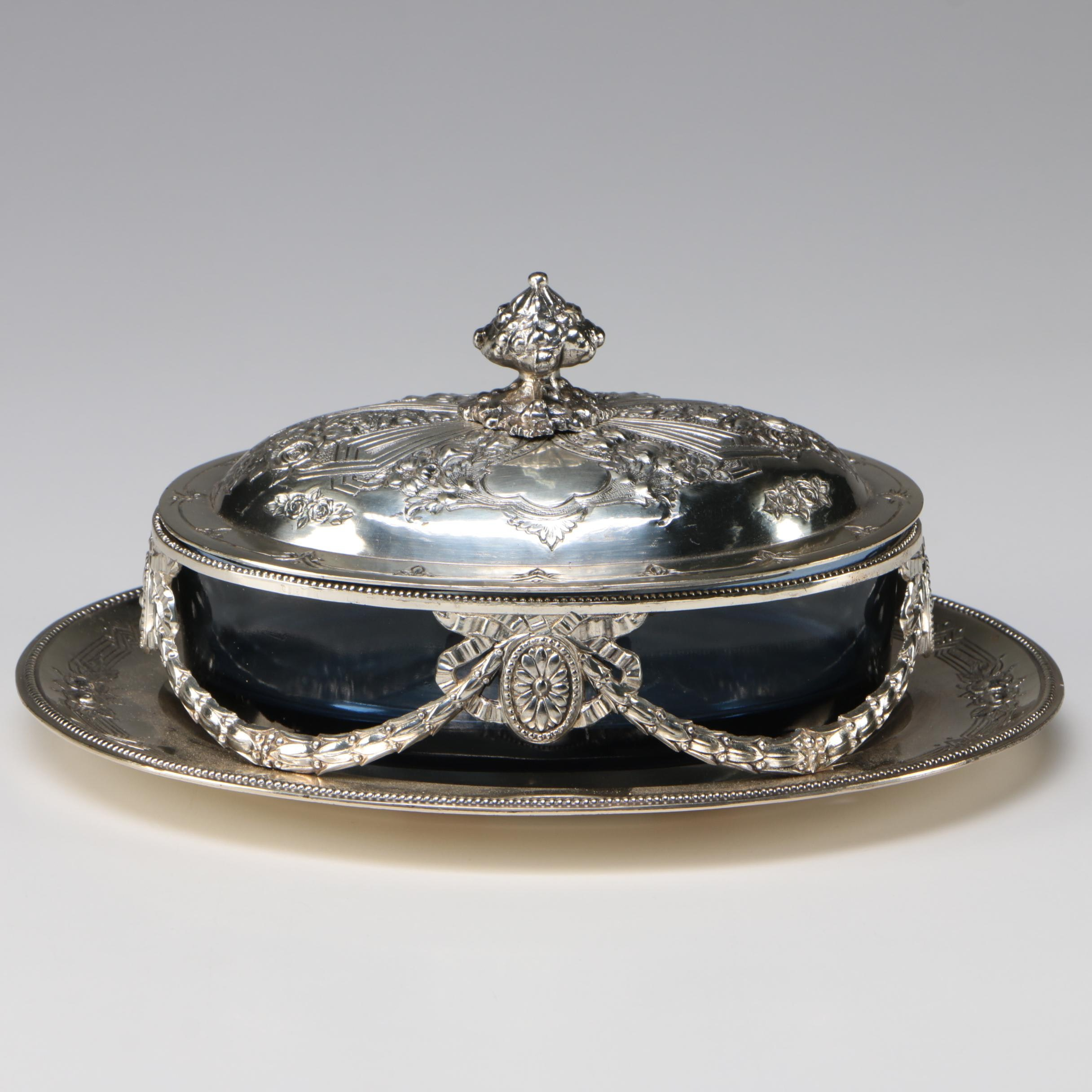 Corbell & Co. Neoclassical Silver Plate and Blue Glass Covered Dish