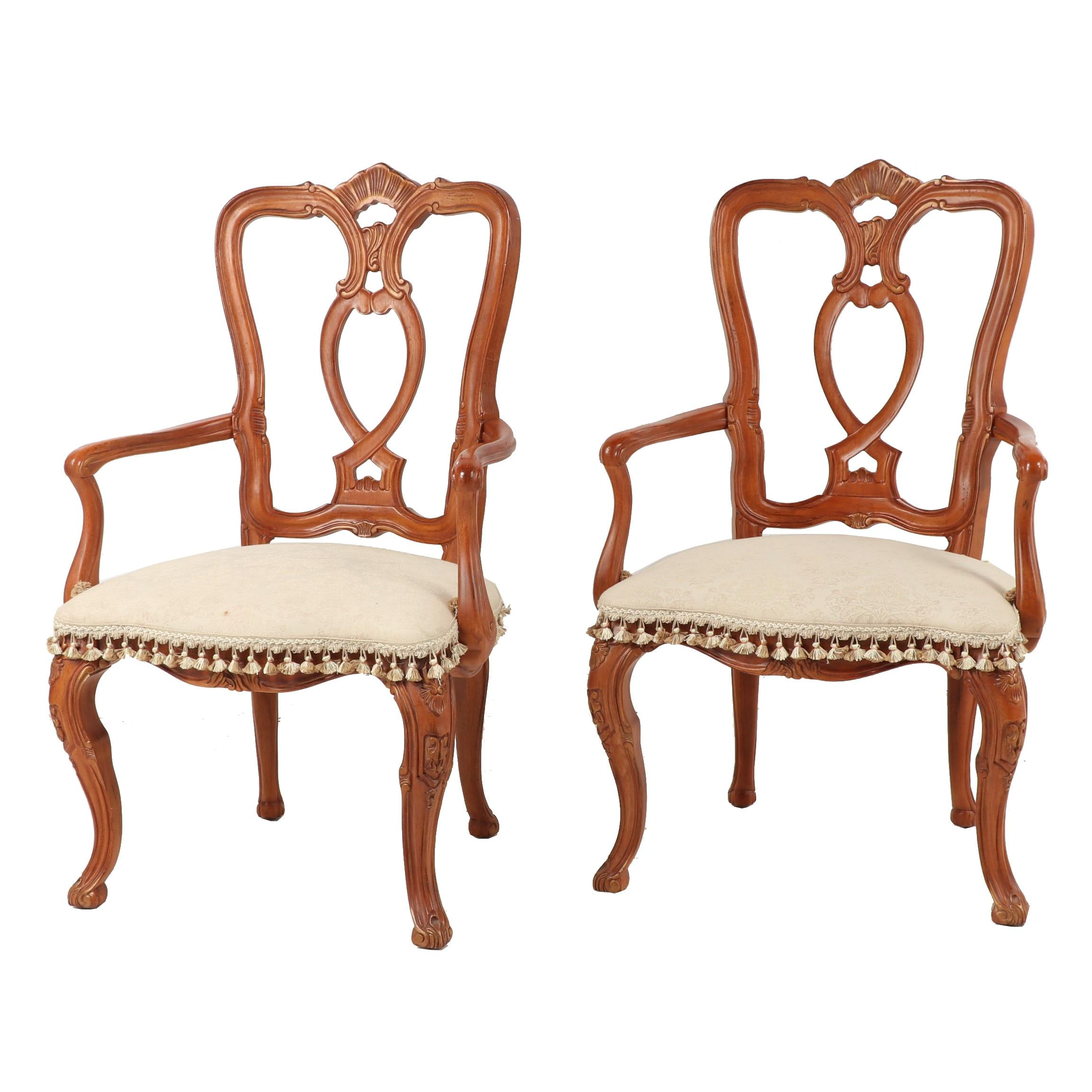 Pair of Contemporary George III Rococo Style Upholstered Dining Armchairs