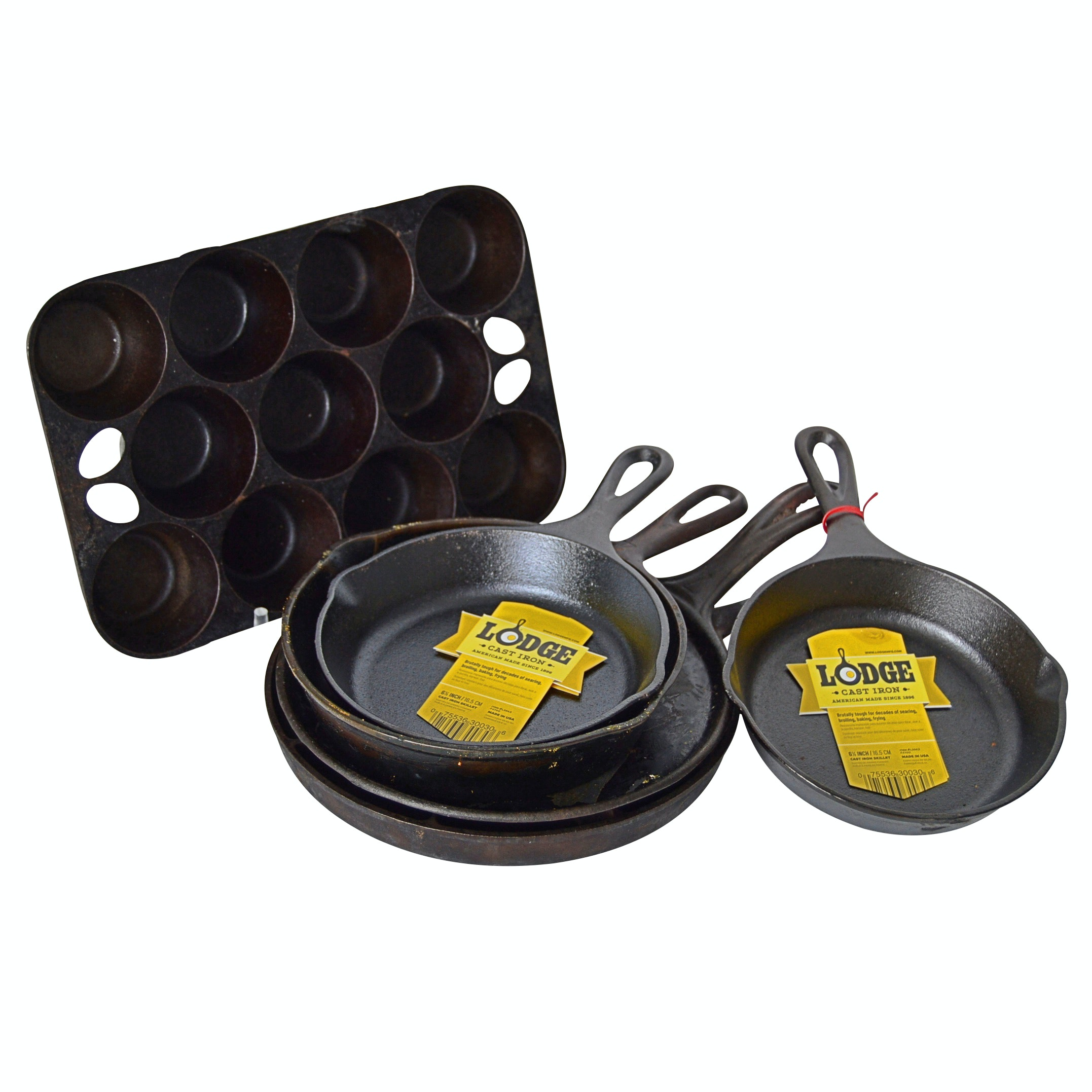 Cast Iron Skillets and Bakeware with Pair of NWT Lodge, Griswold Muffin Pan