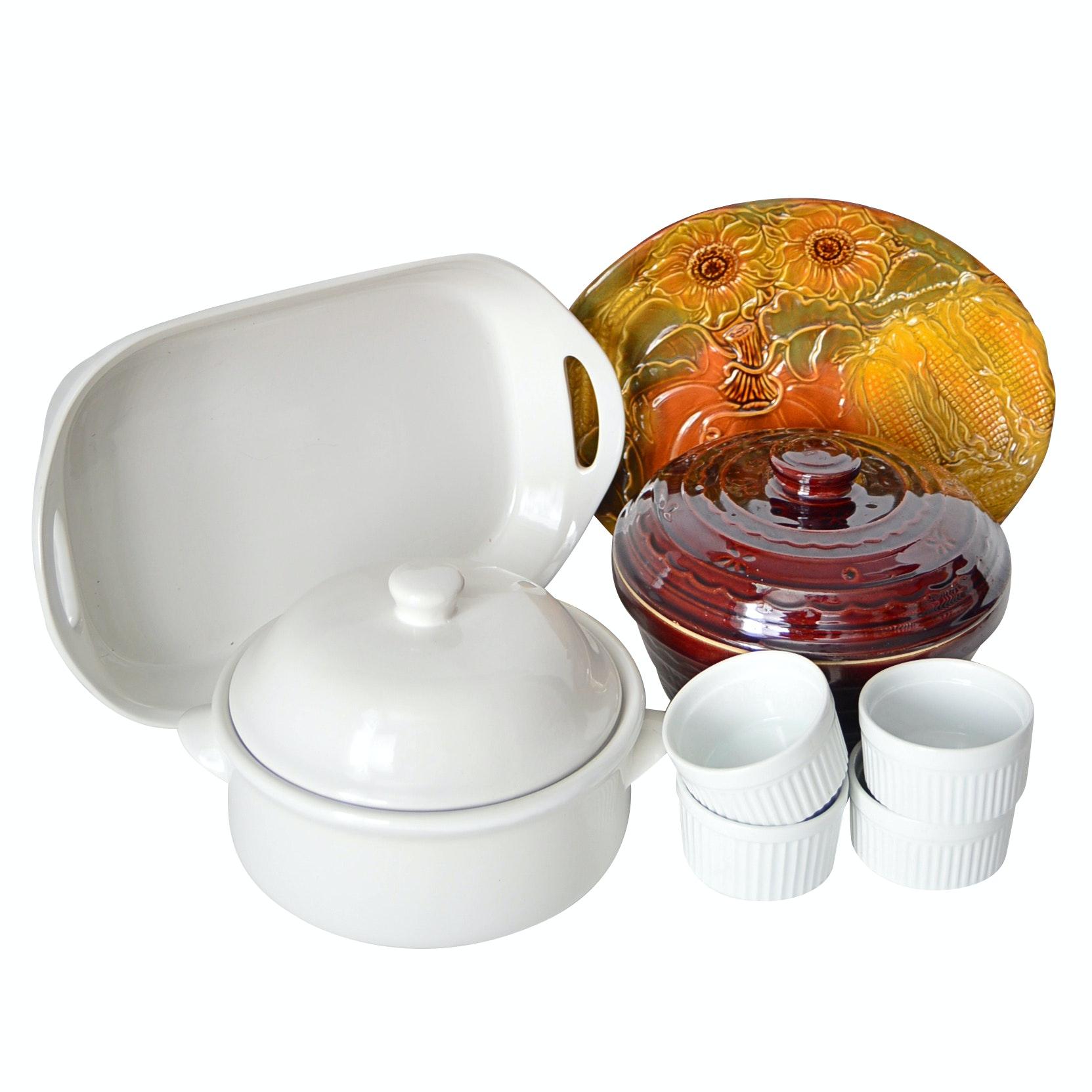 Ceramic Bakeware with Vintage Casserole, CorningWare