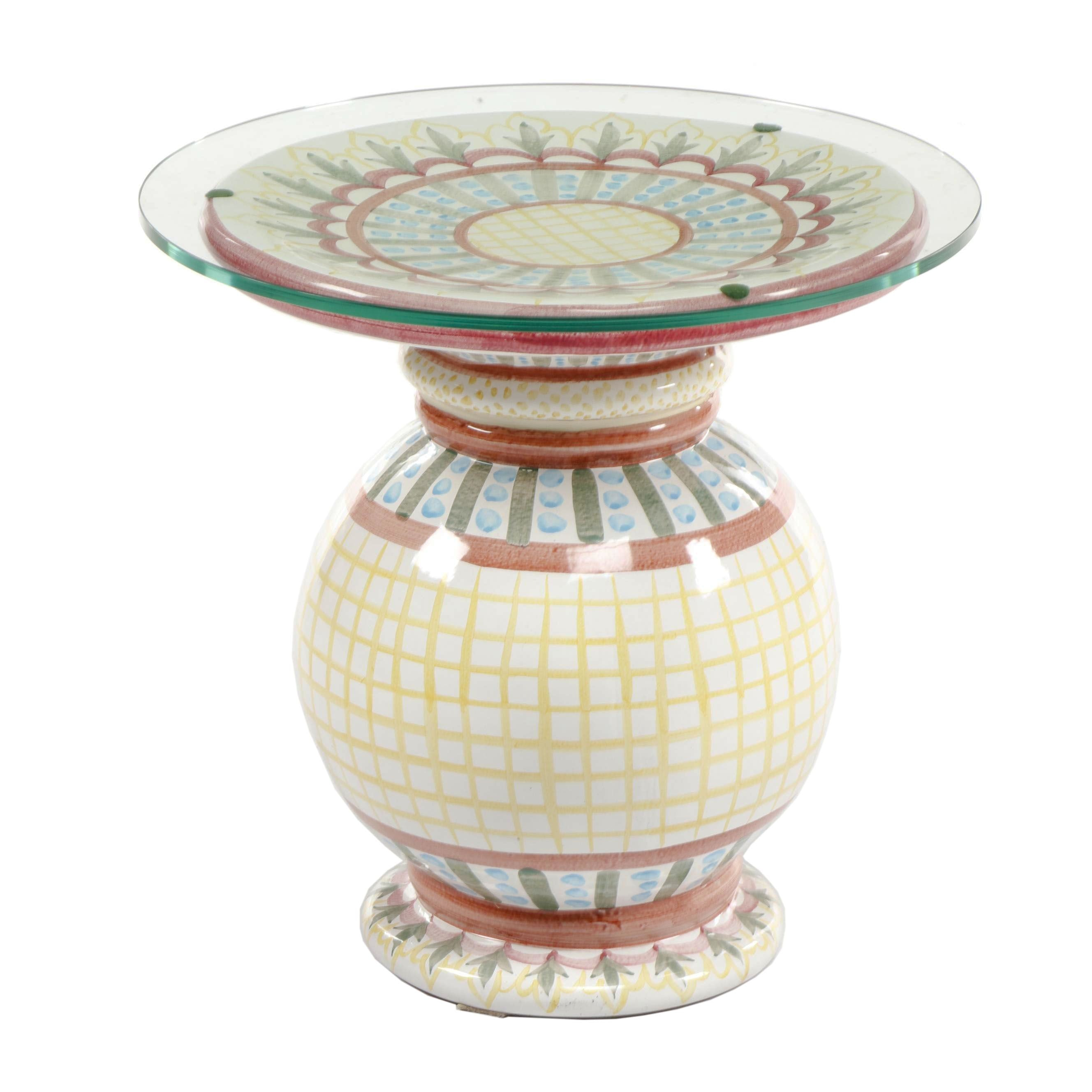 MacKenzie-Childs Hand-Painted Glass-Top Earthenware Pedestal Table