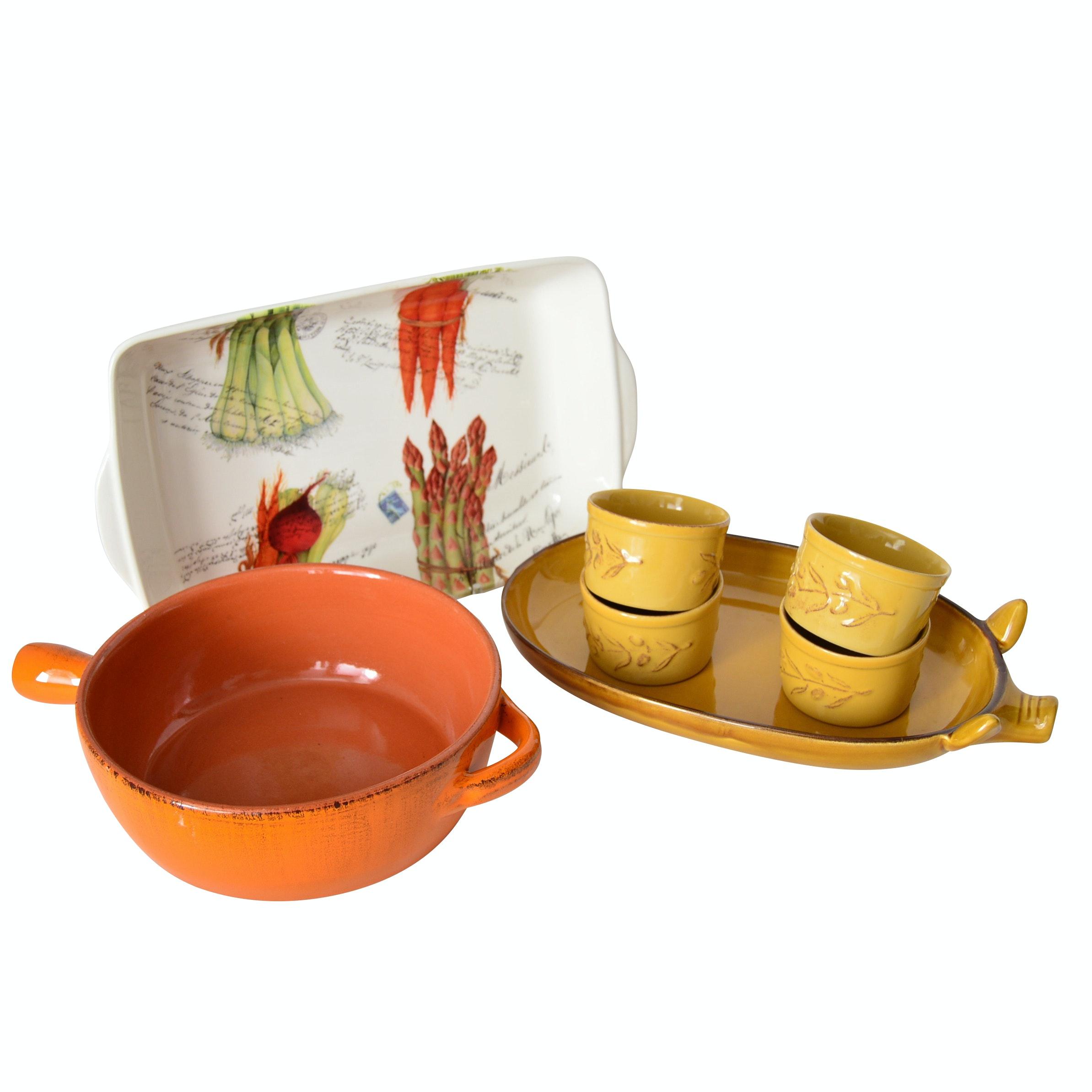 Italian and Portuguese Ceramic Bakeware and Serveware