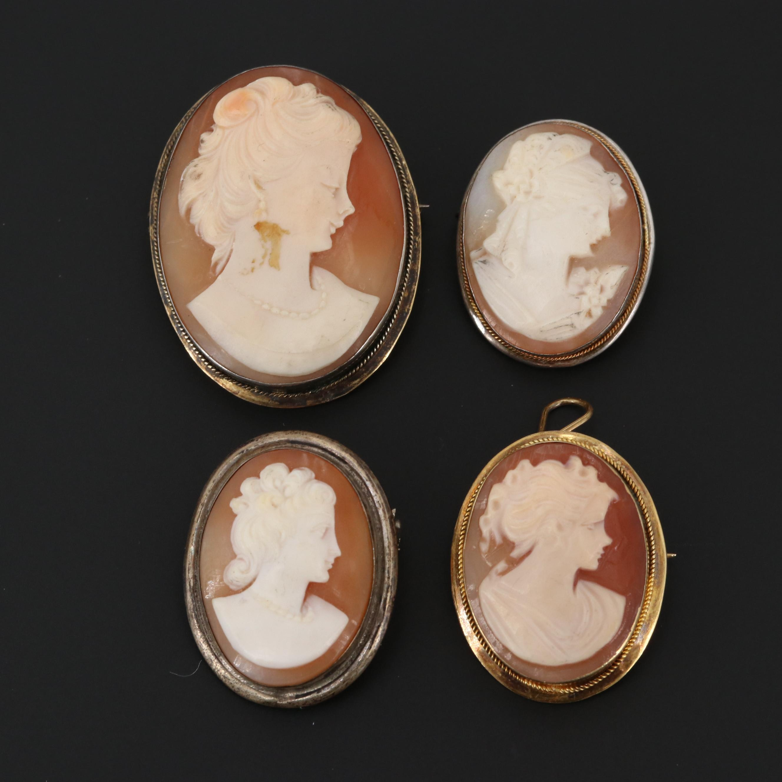 Vintage 800, Sterling Silver and Gold Wash Helmet Shell Cameo Converter Brooches