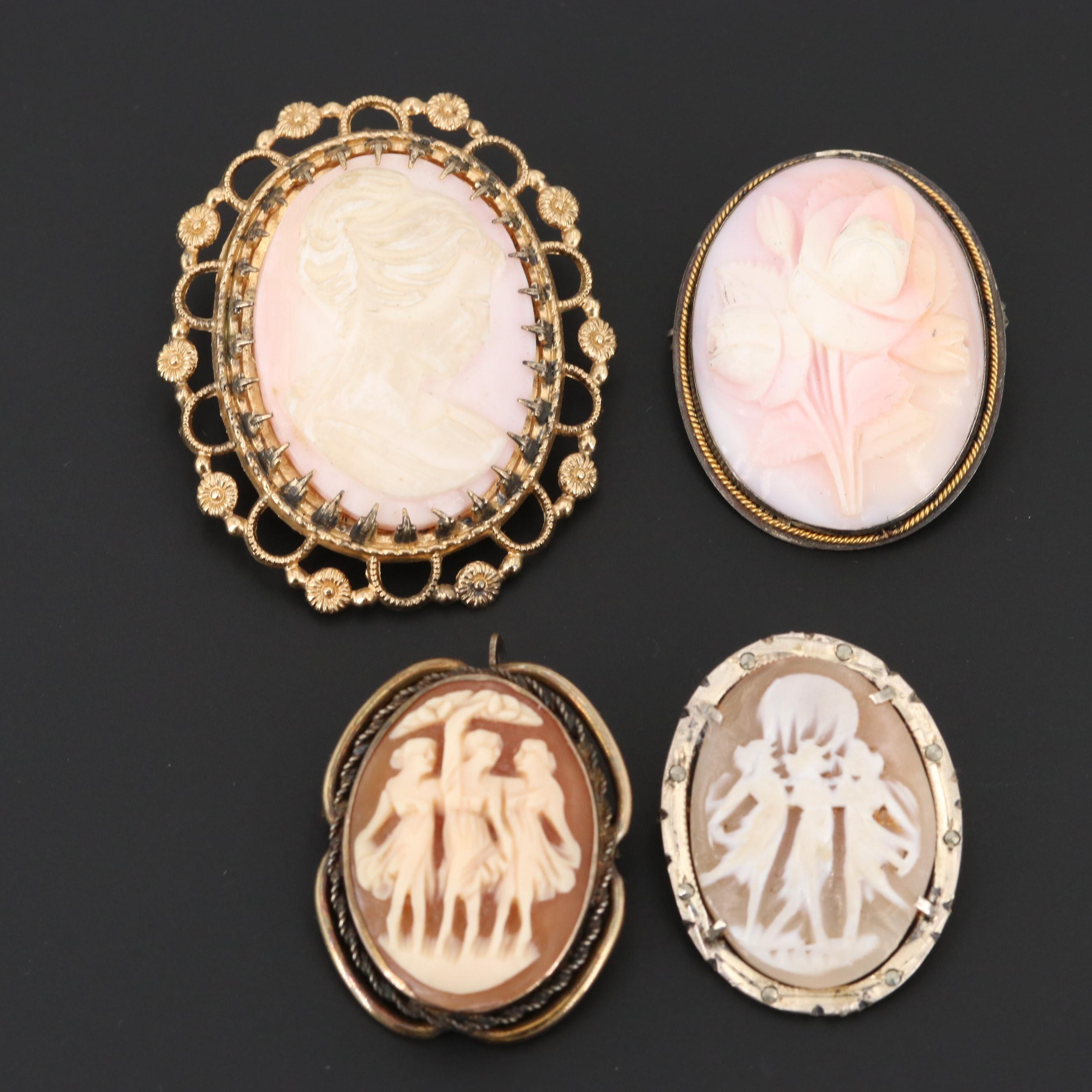 800, 900, Sterling Silver and 10K Gold Filled Shell Cameo Converter Brooches