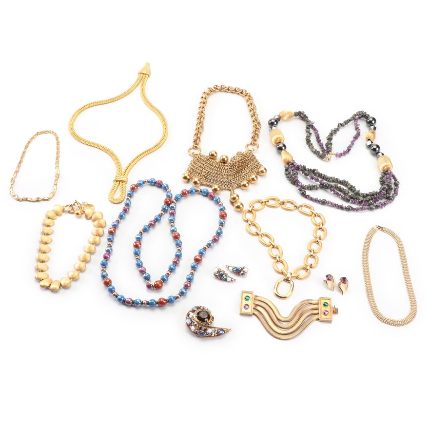 9888d395737 Trifari, Florenza Earrings & Brooch with Assorted Costume Jewelry : EBTH
