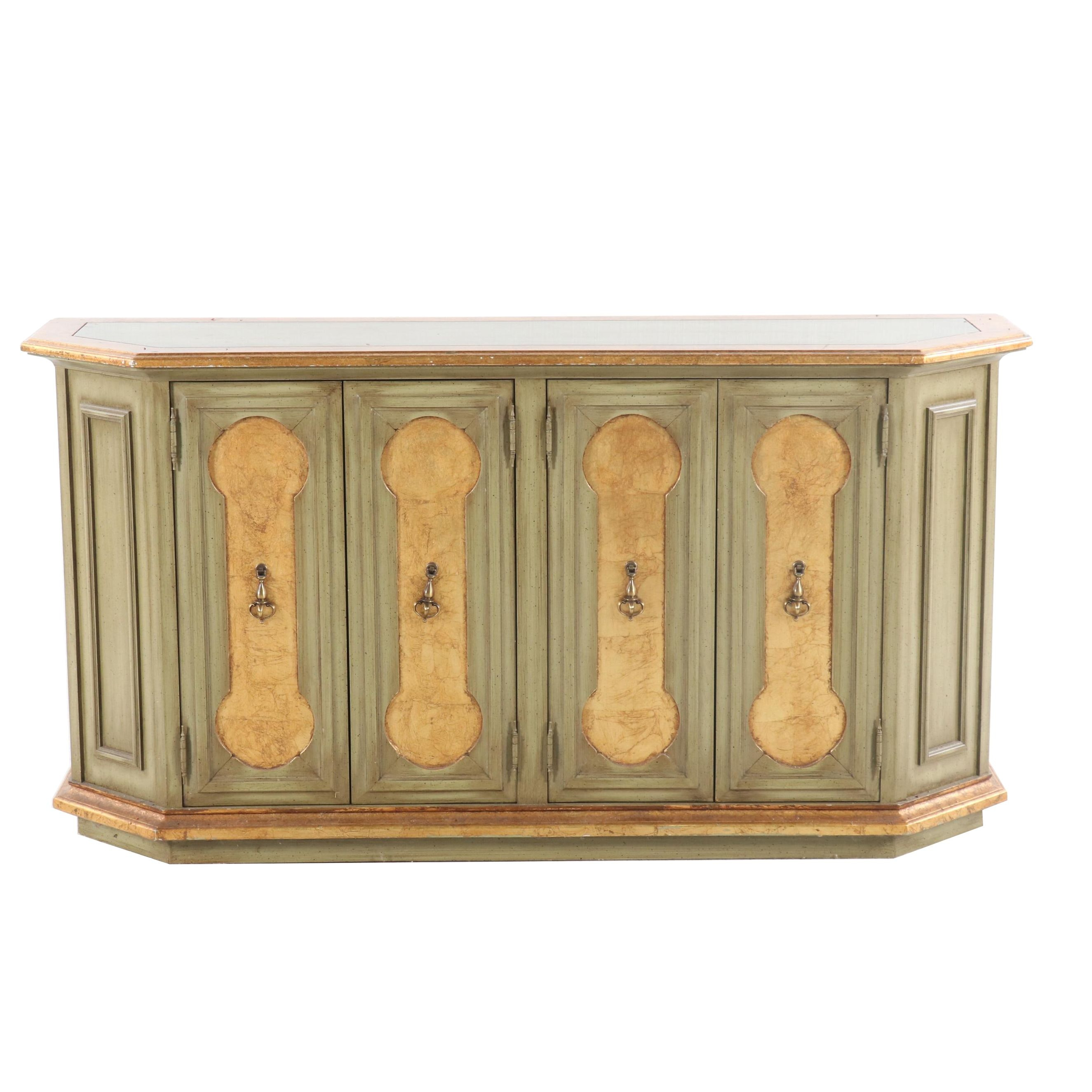 Green Painted and Partial Gilt Sideboard, Mid 20th Century