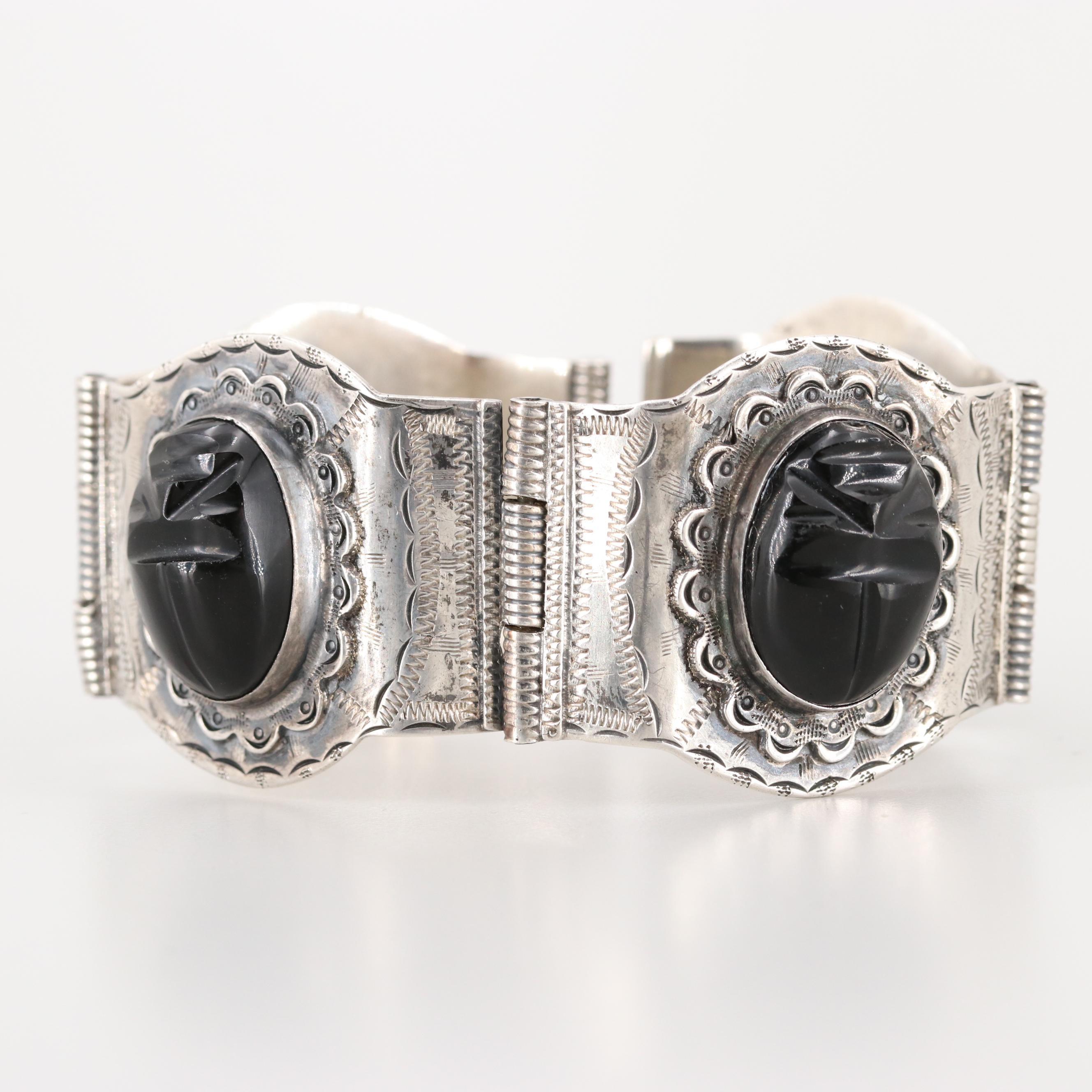 Mexican Sterling Silver Carved Obsidian Paneled Bracelet