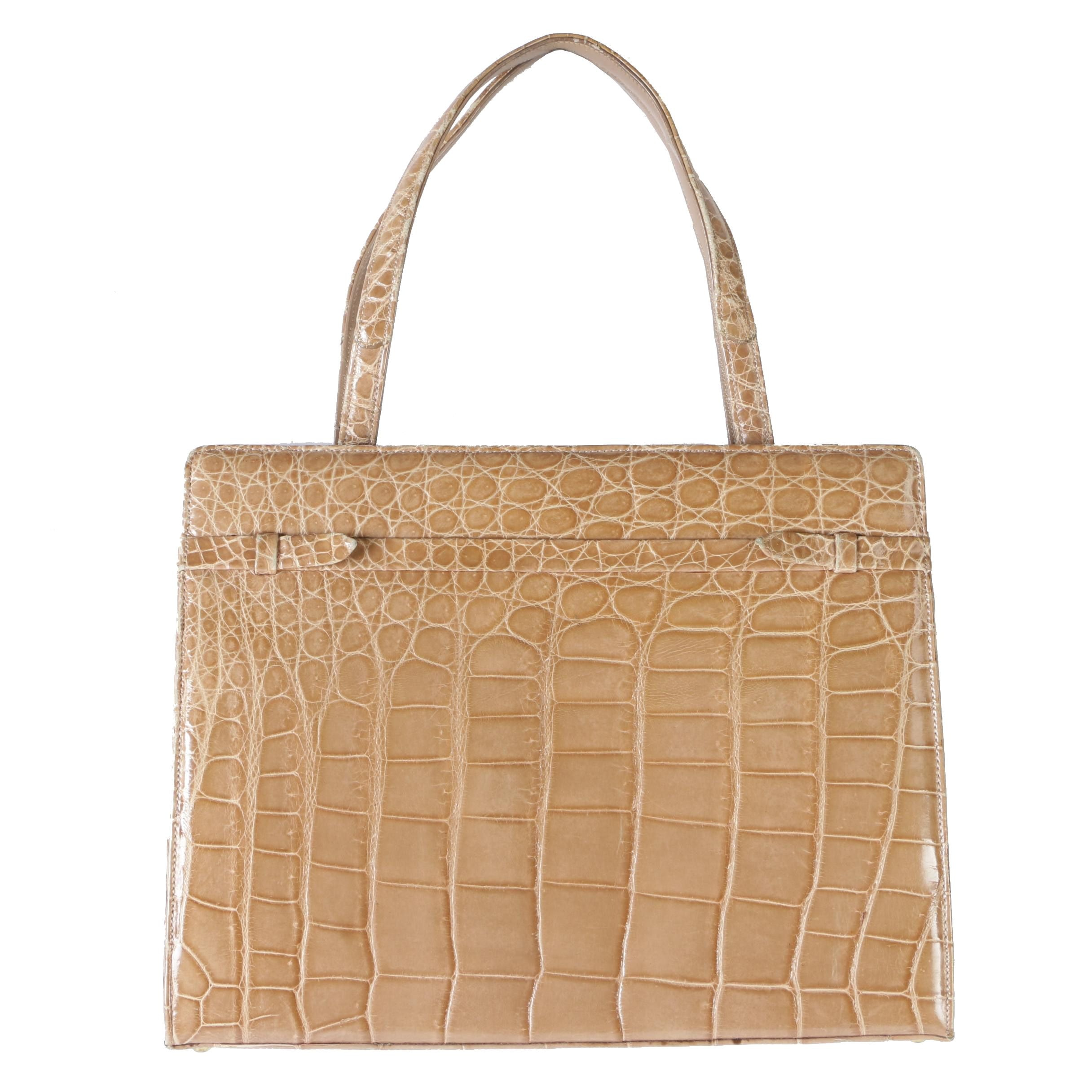 Manon for Saks Fifth Avenue Tan Alligator Skin Kelly Style Handbag,1960s Vintage