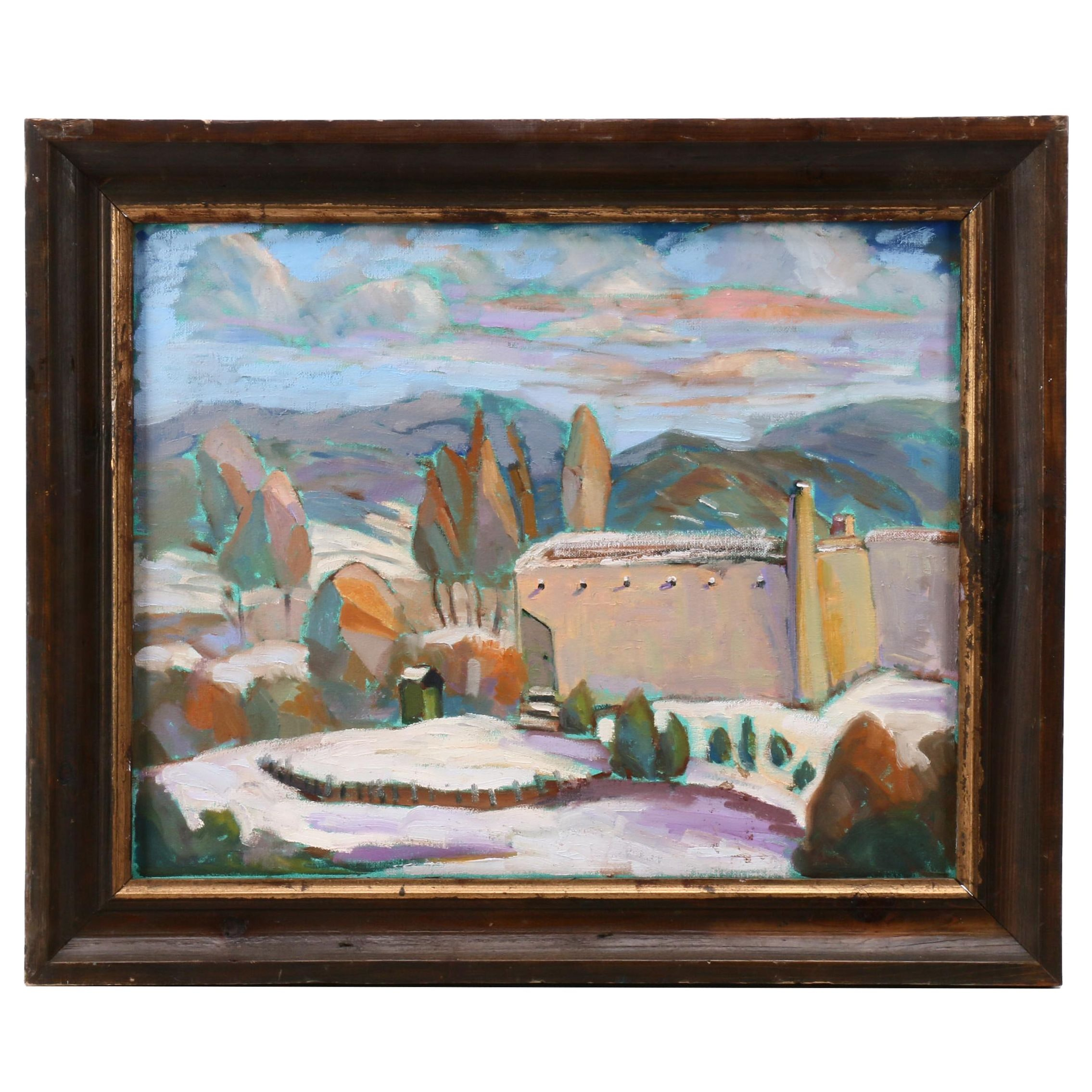 Oil Painting of Stylized Fort in Landscape
