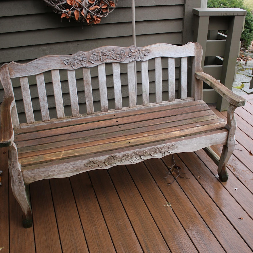 Carved Wood Patio Bench