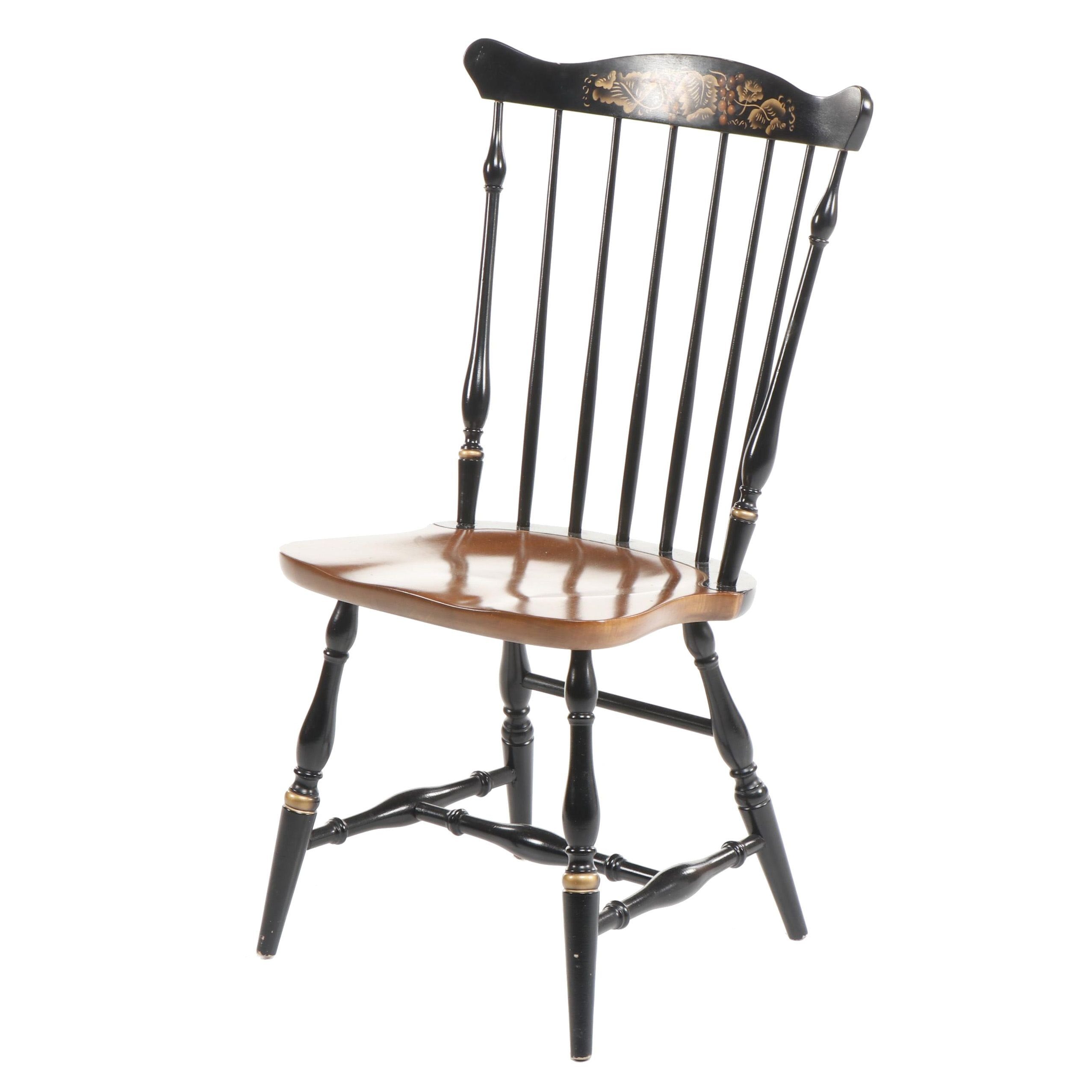 Tole Painted Colonial Style Side Chair with Spindle Back