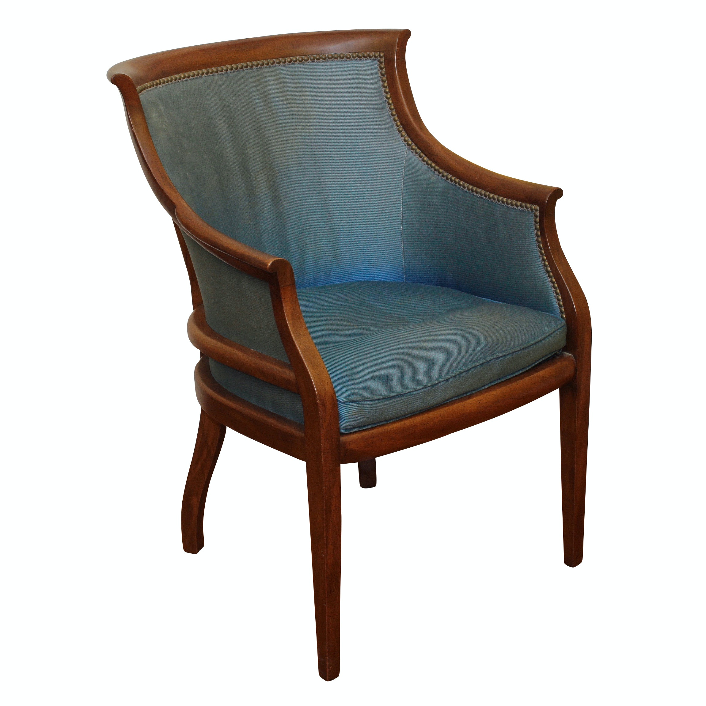 Duralee Directoire Style Blue Arm Chair, Vintage