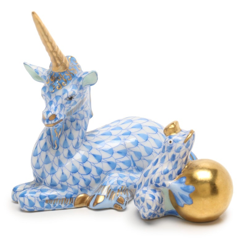 """Herend Hungary Unicorn and """"Frog Prince"""" Handpainted Porcelain Figurines"""