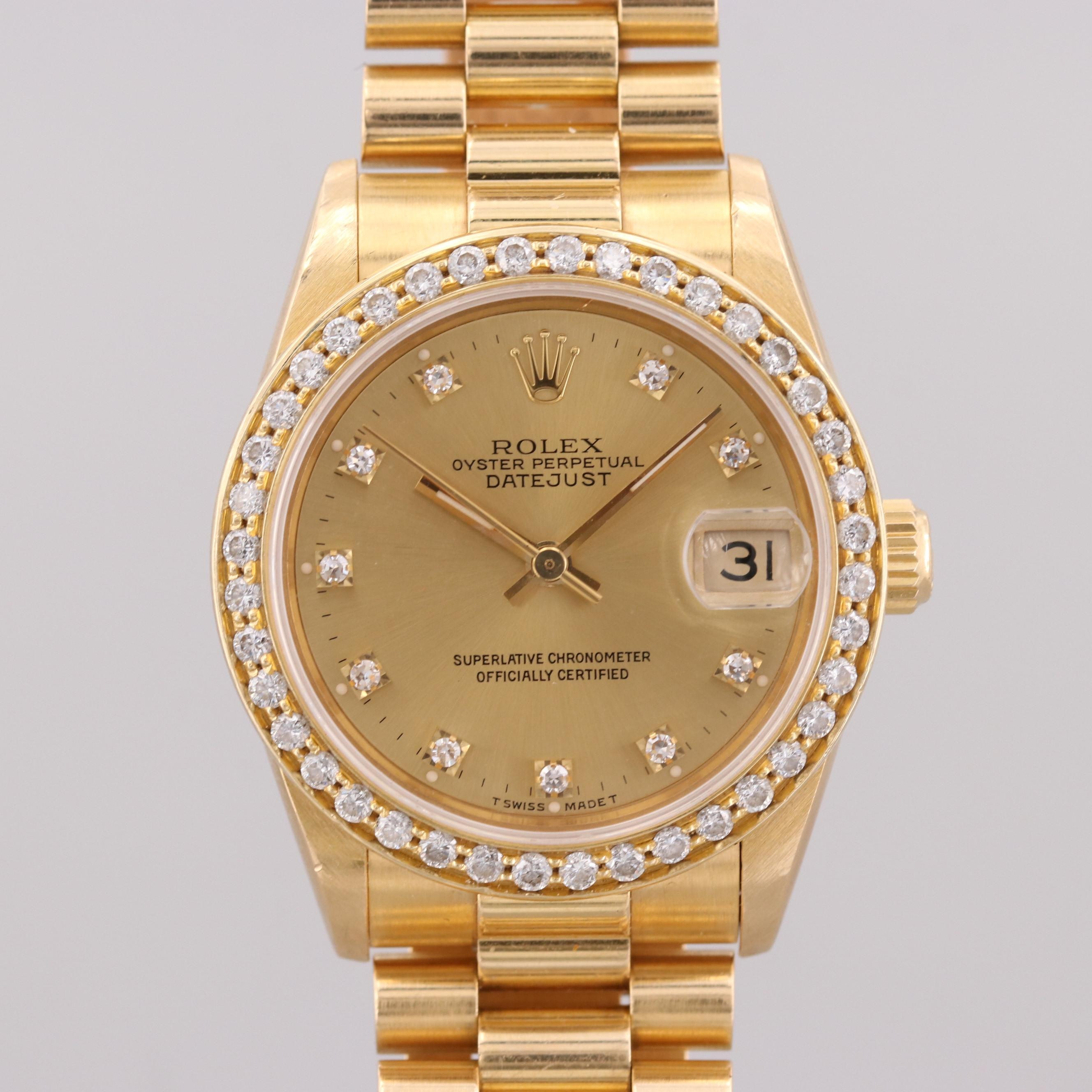 Rolex Datejust 18K Yellow Gold Wristwatch With 1.18 CTW Diamond Bezel and Dial