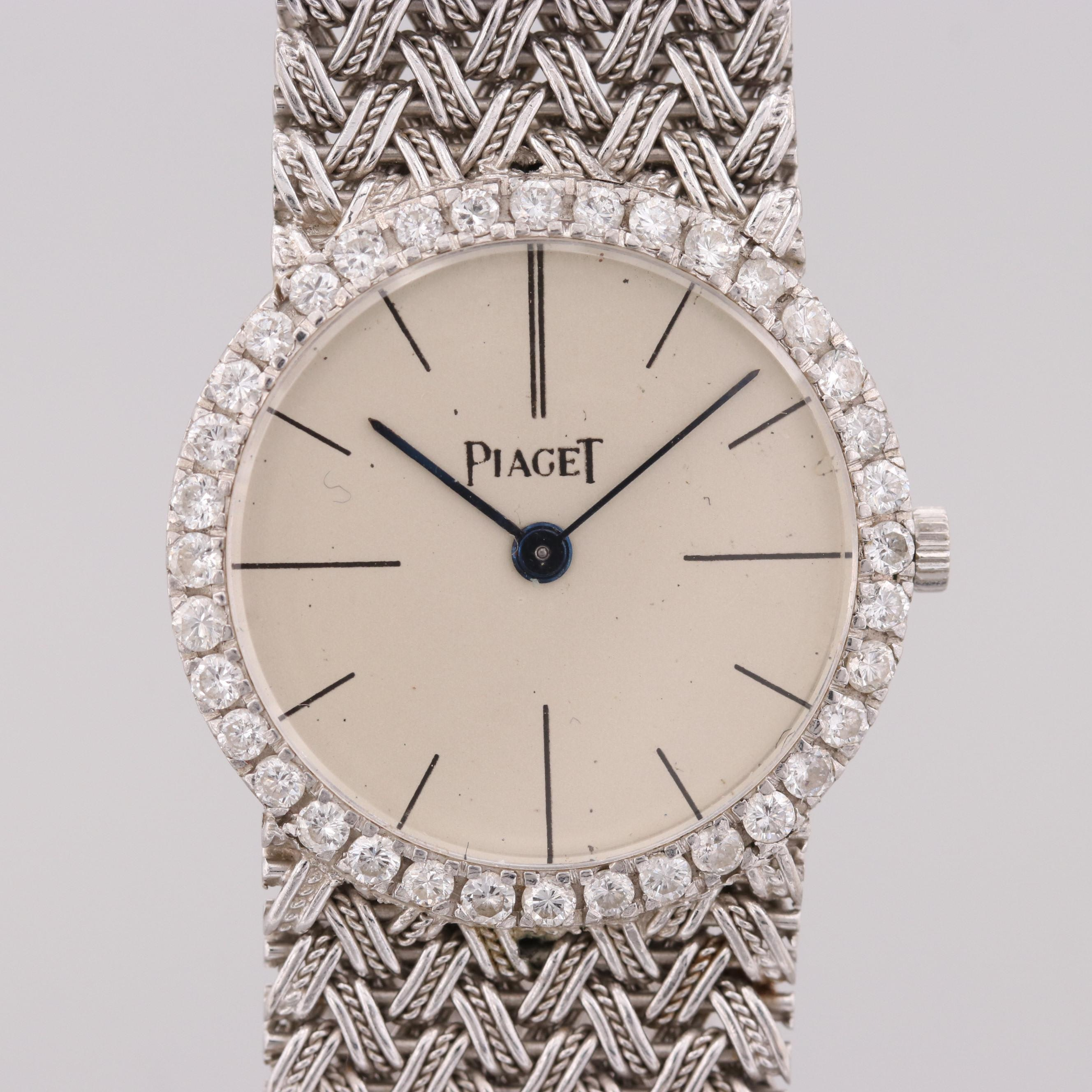 Vintage Piaget 18K White Gold Diamond Wristwatch