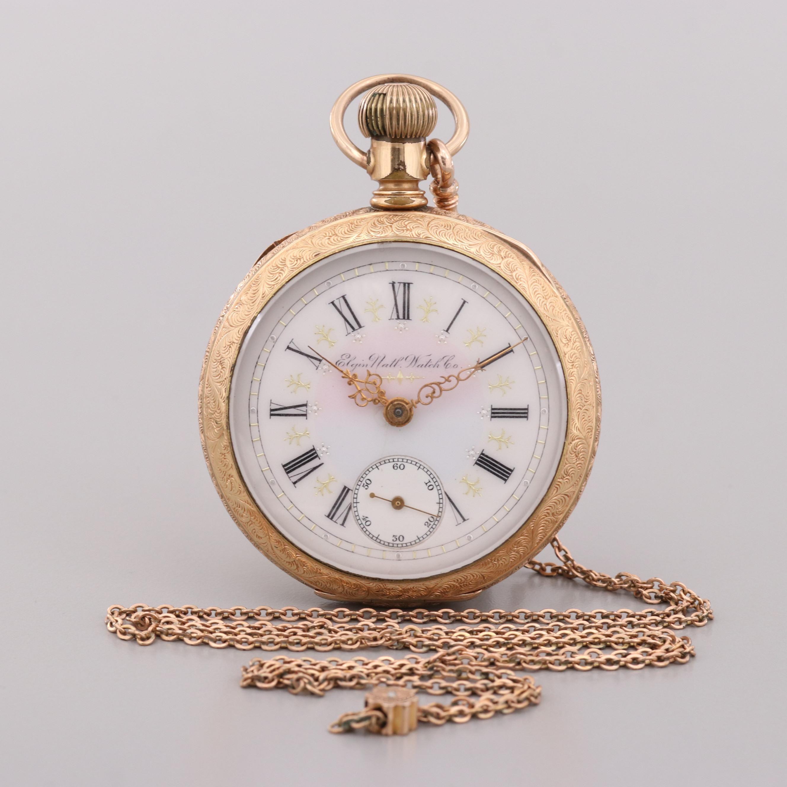 Elgin National Watch Co. Gold Filled Pocket Watch With Diamond Fob Chain,  1898