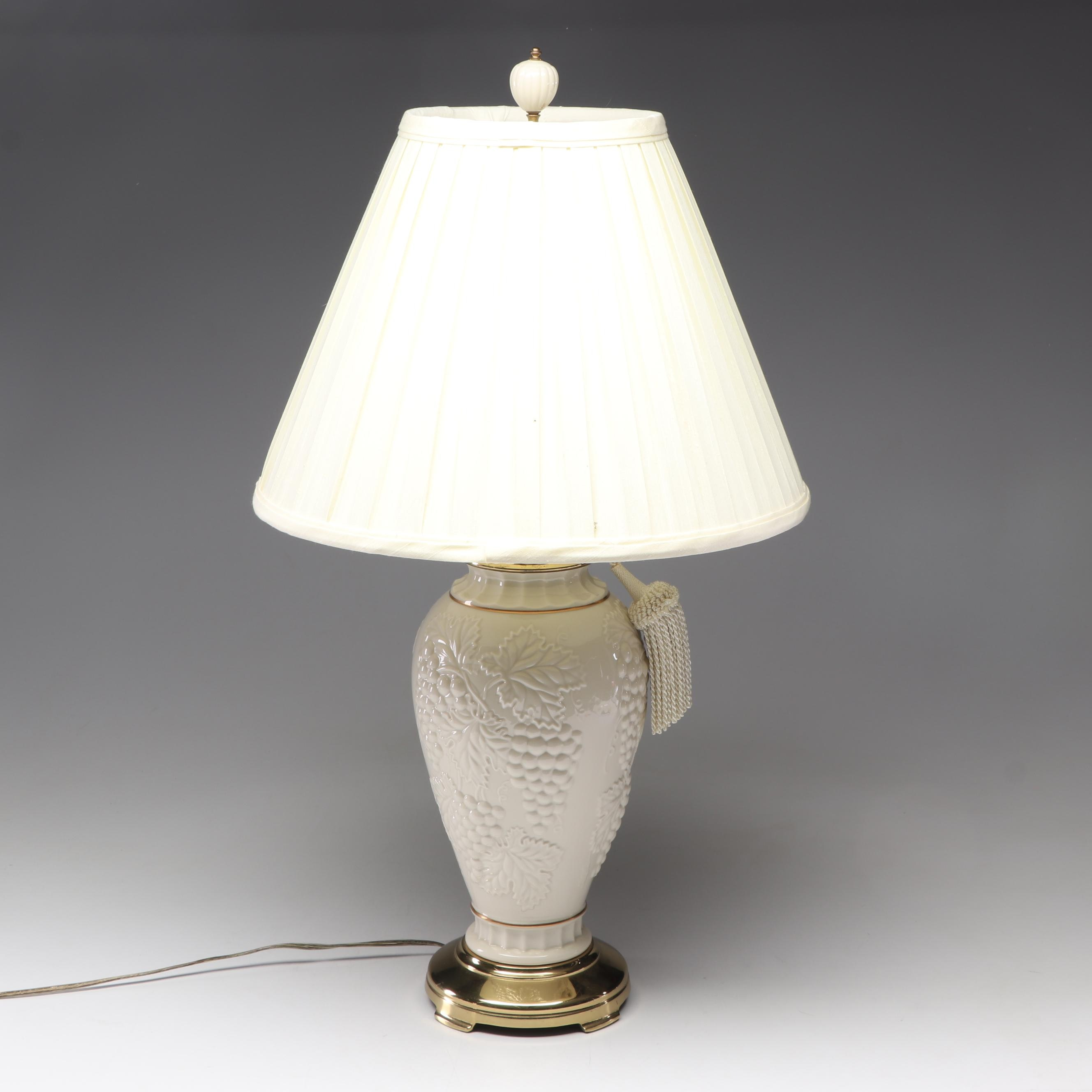 Lenox White Grape Pattern Bone China Table Lamp