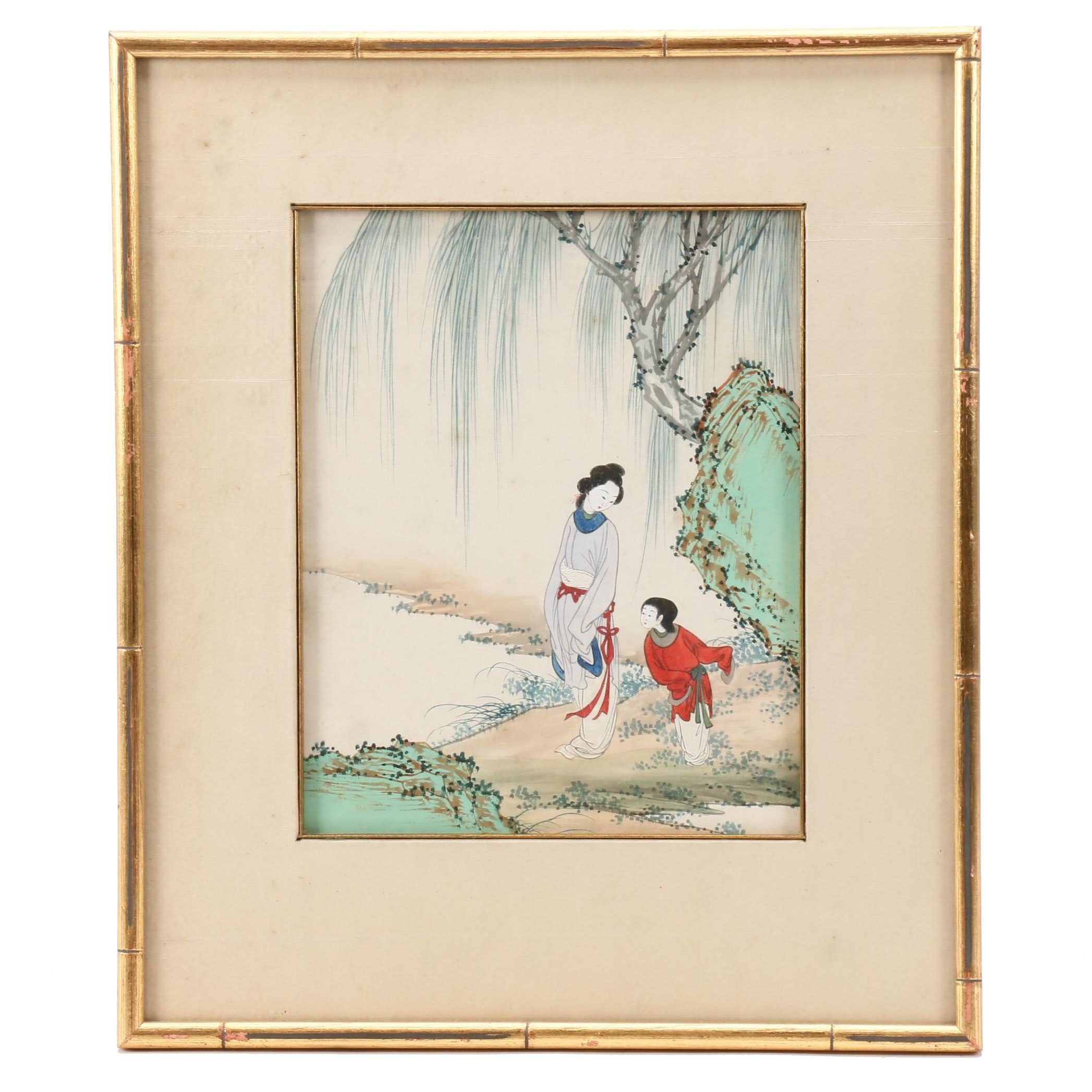 Chinese Gouache Painting of Woman and Child in Landscape