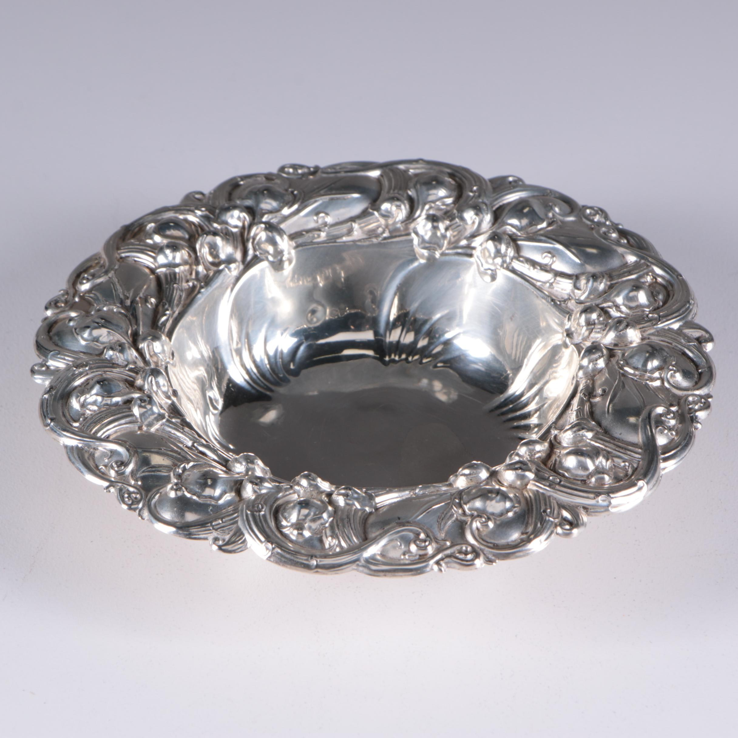 """Whiting """"Lily of the Valley"""" Sterling Silver Bonbon Bowl, Early 20th Century"""