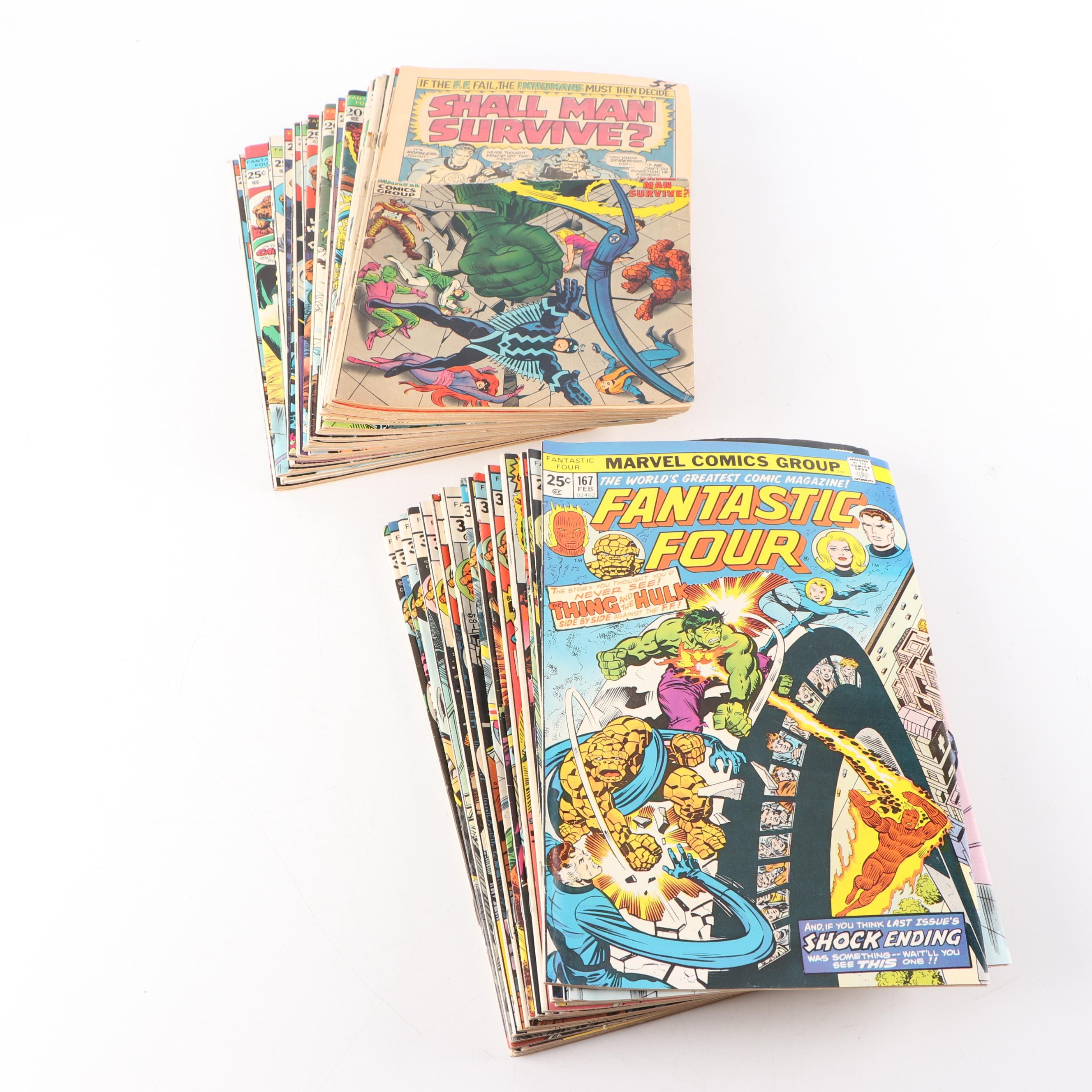 """Silver and Bronze Aged Marvel Comics Group """"Fantastic Four"""" Comic Books"""