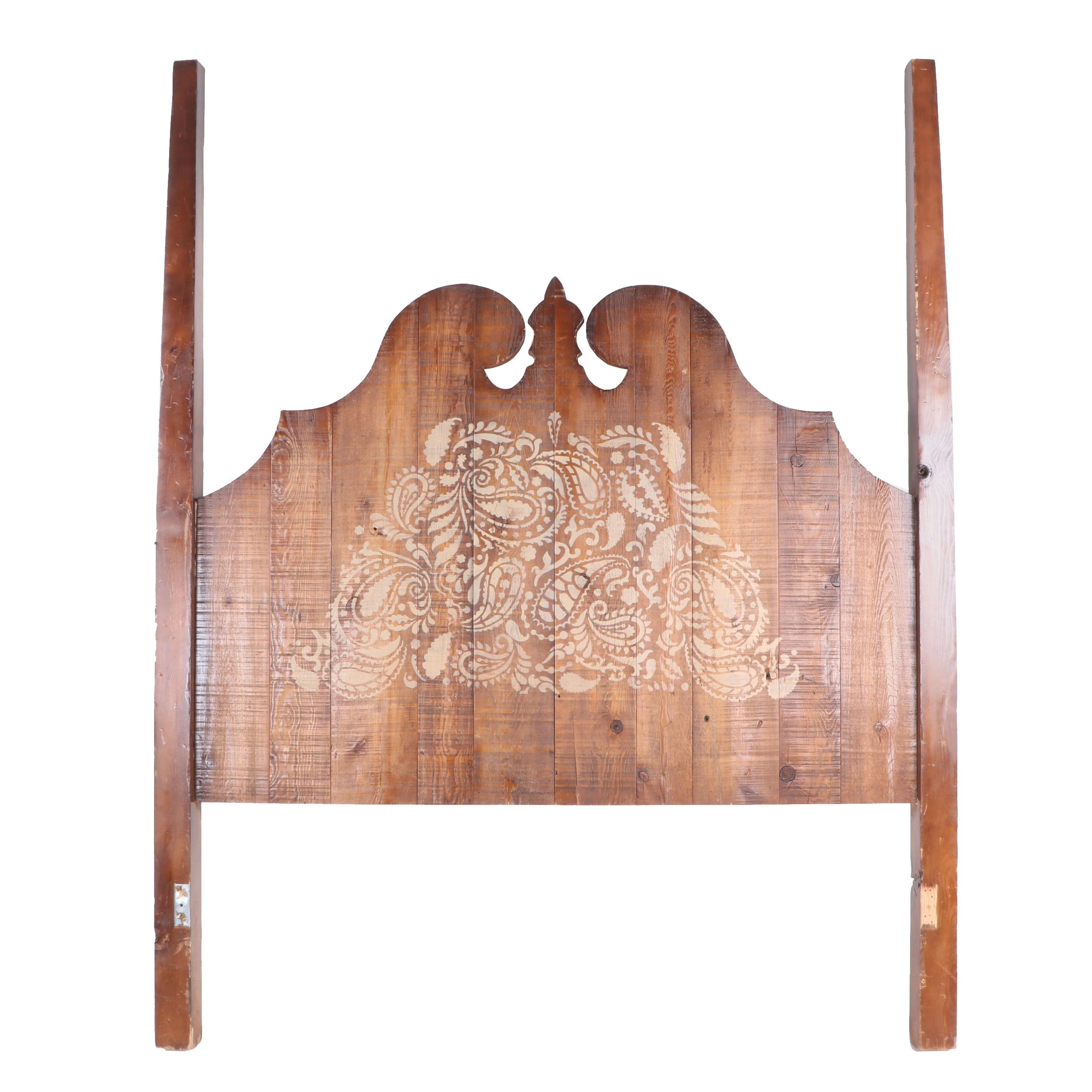 Queen Size Pine Headboard with Paisley Motif, Vintage