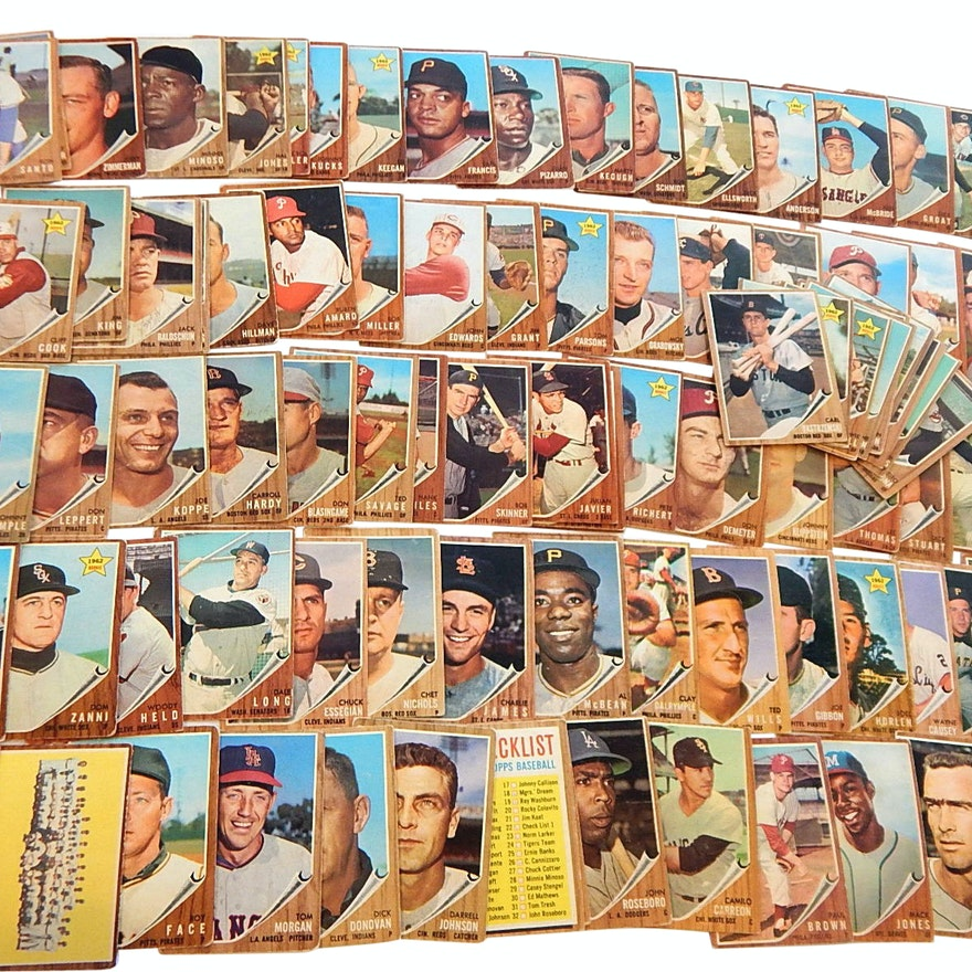 1962 Topps Baseball Cards With Rookies Stars Team Cards And Check Lists
