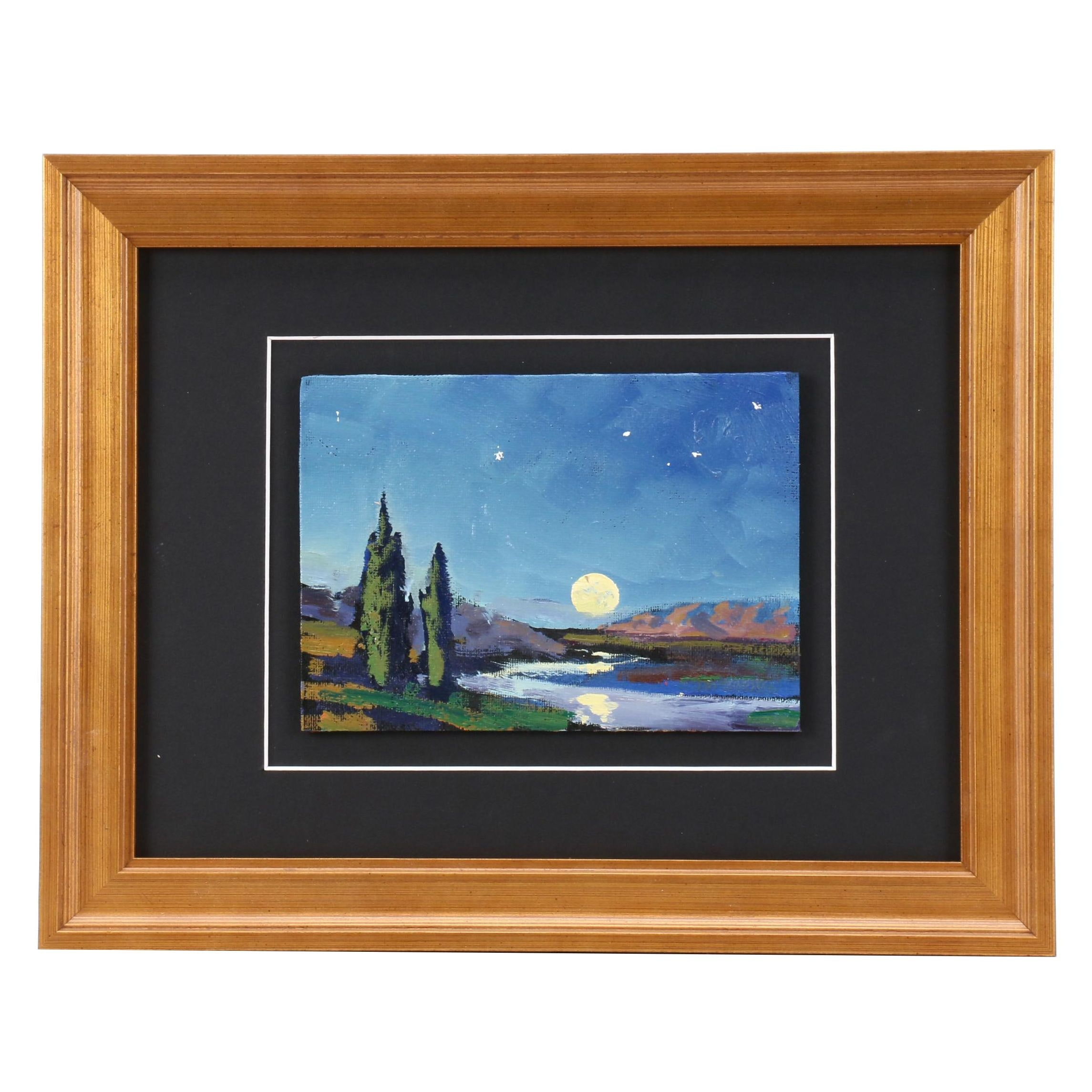 William Hawkins Oil Painting of Moon Over Landscape