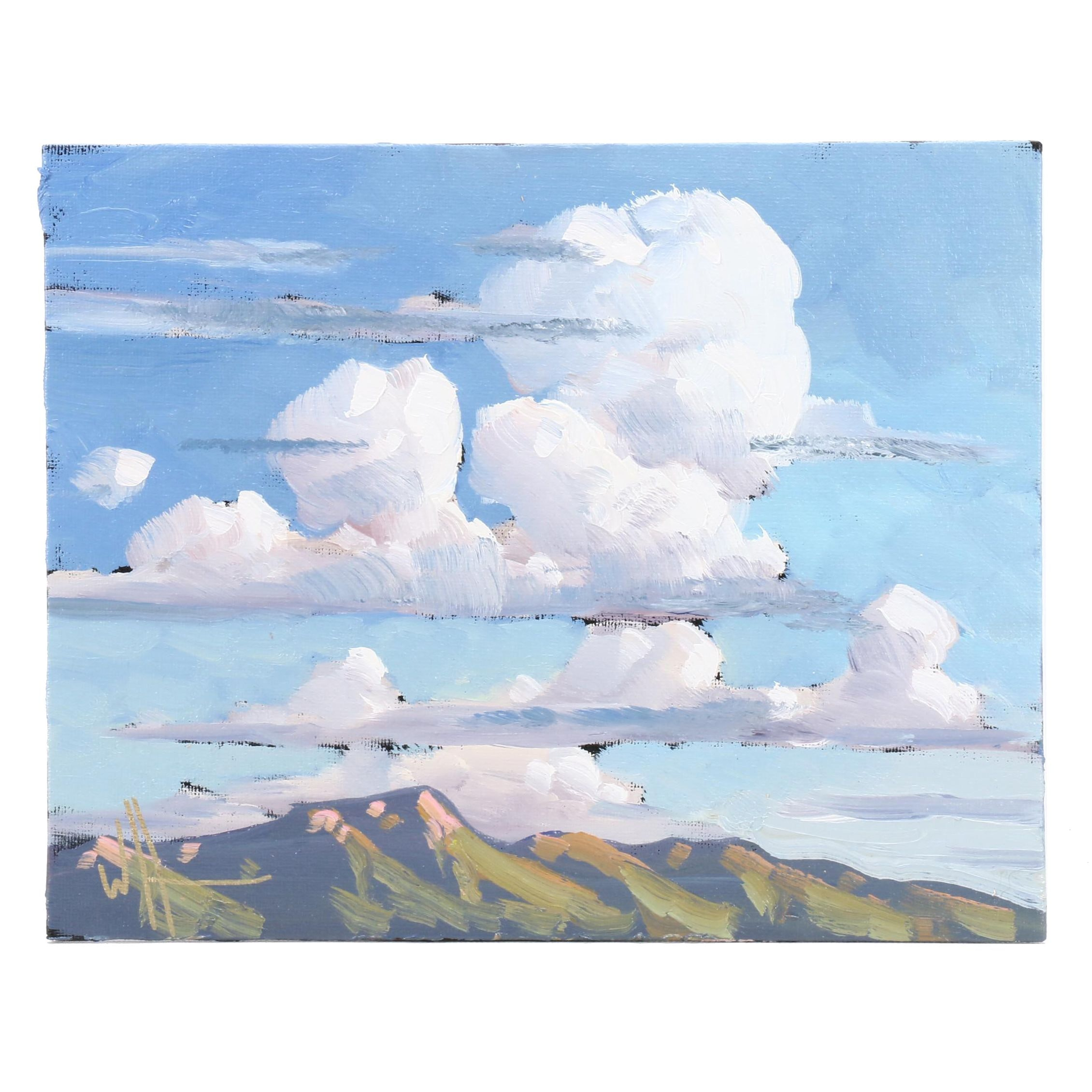 William Hawkins Oil Painting of Big Sky Landscape