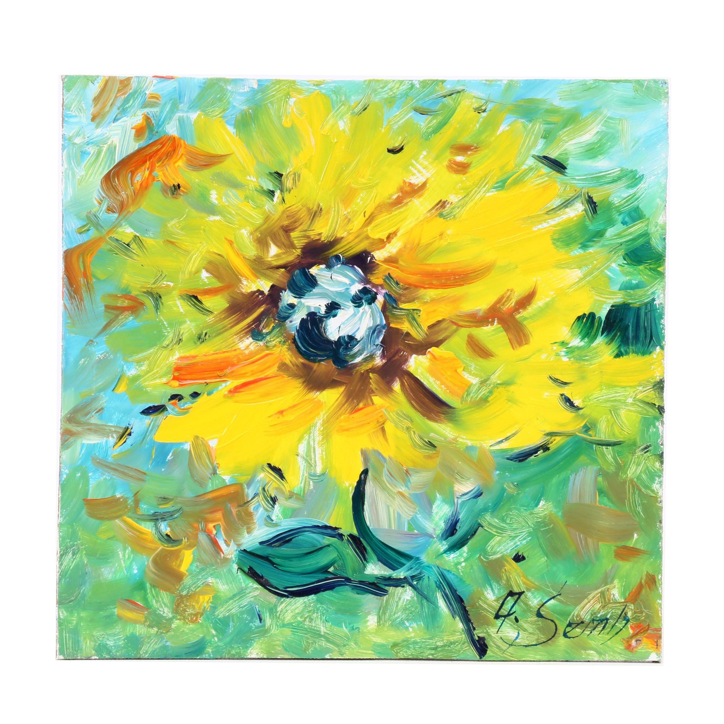 """Andrew Semberecki Oil Painting """"Sunflower"""""""